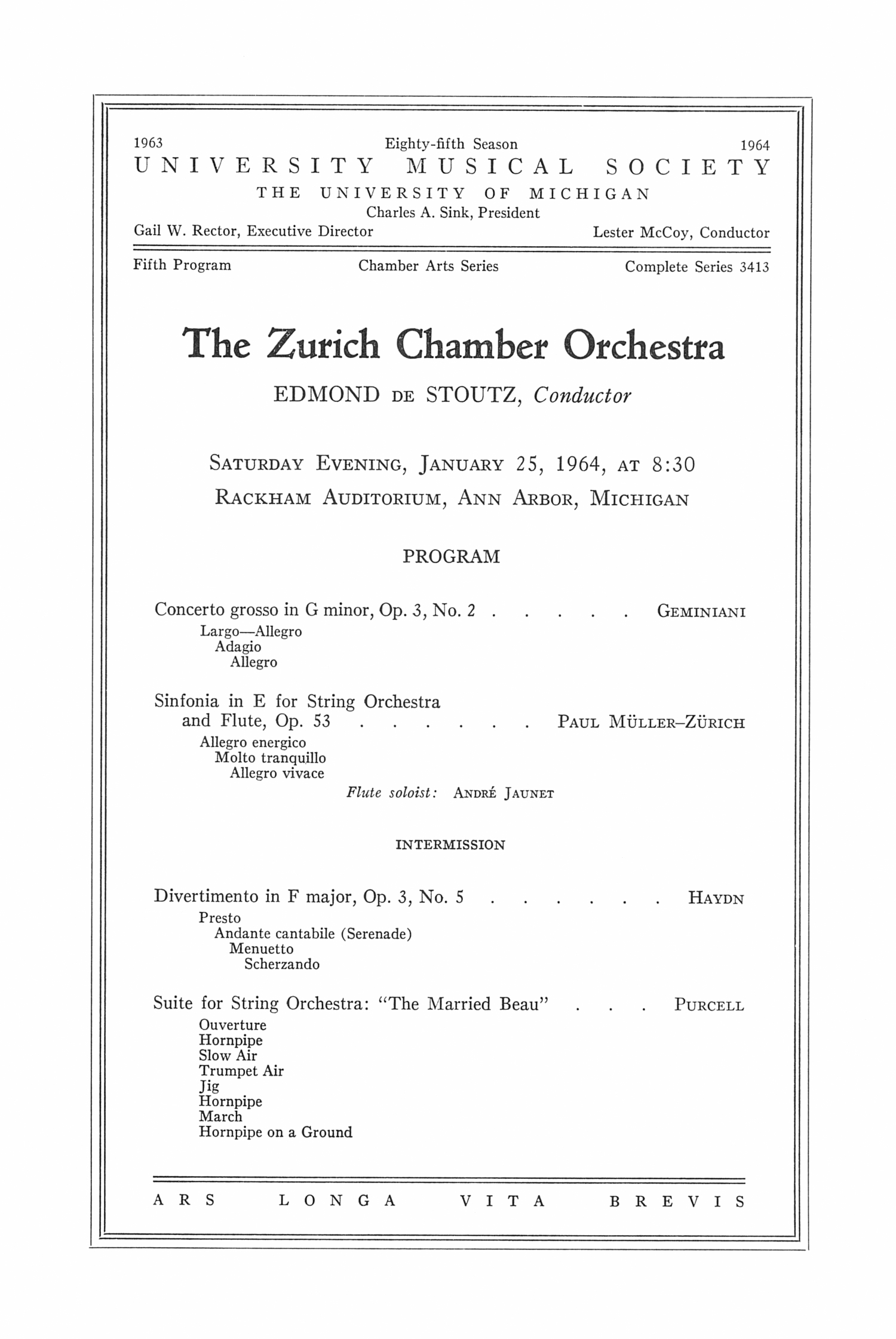 UMS Concert Program, January 25, 1964: The Zurich Chamber Orchestra --  image