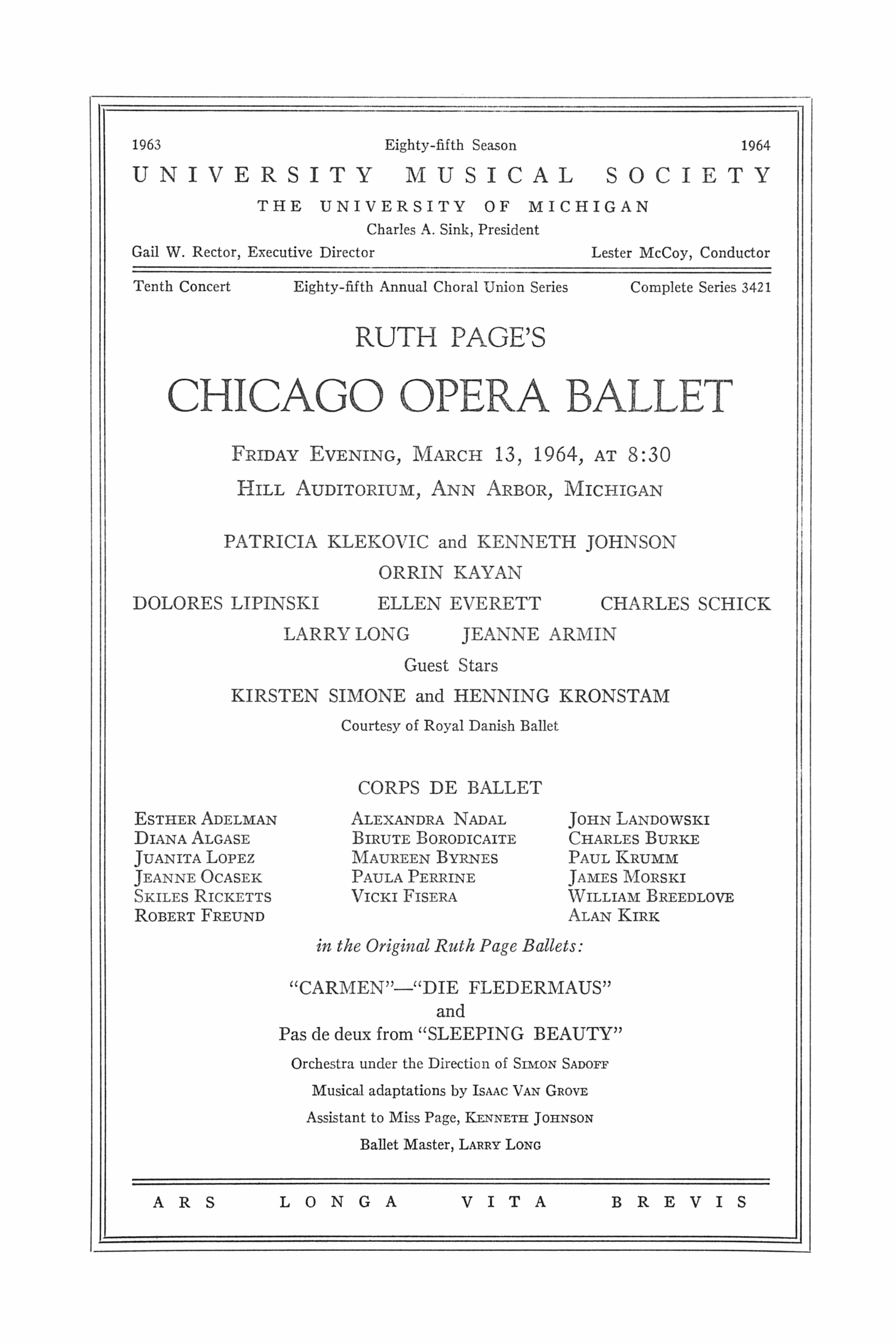 UMS Concert Program, March 13, 1964: Chicago Opera Ballet -- Patricia Klekovic image