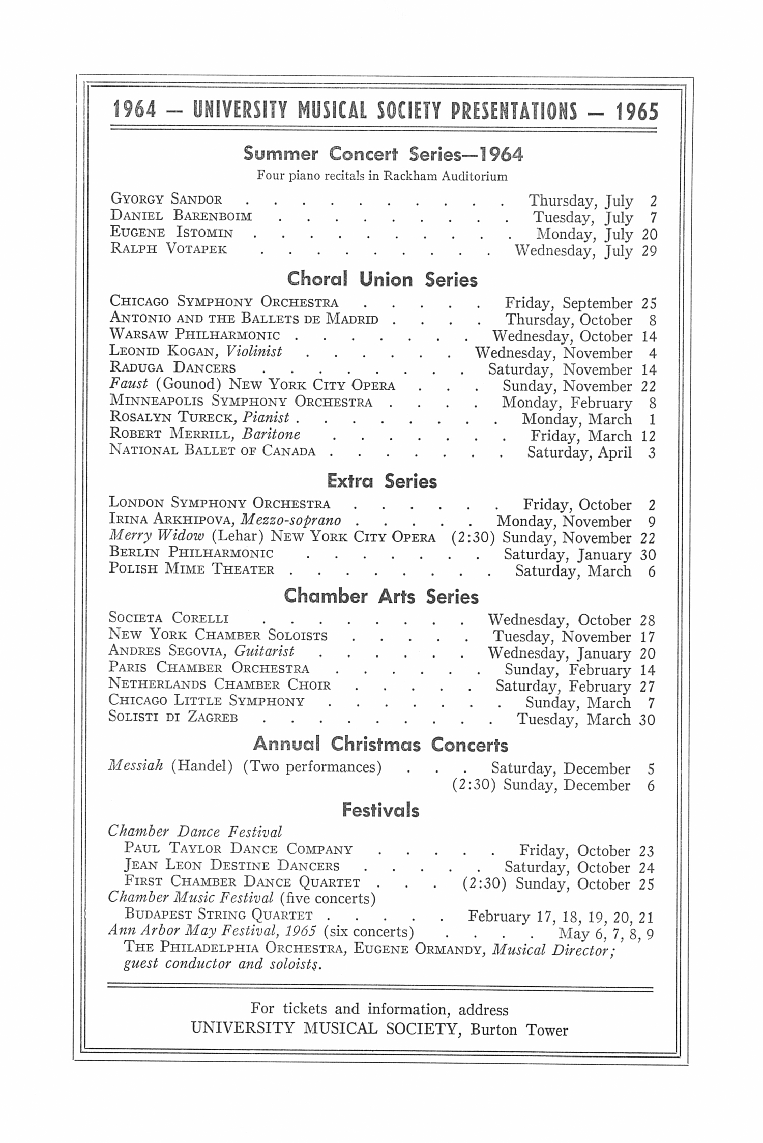 UMS Concert Program, April 30, 1964: Seventy-first Annual May Festival -- The Philadelphia Orchestra image