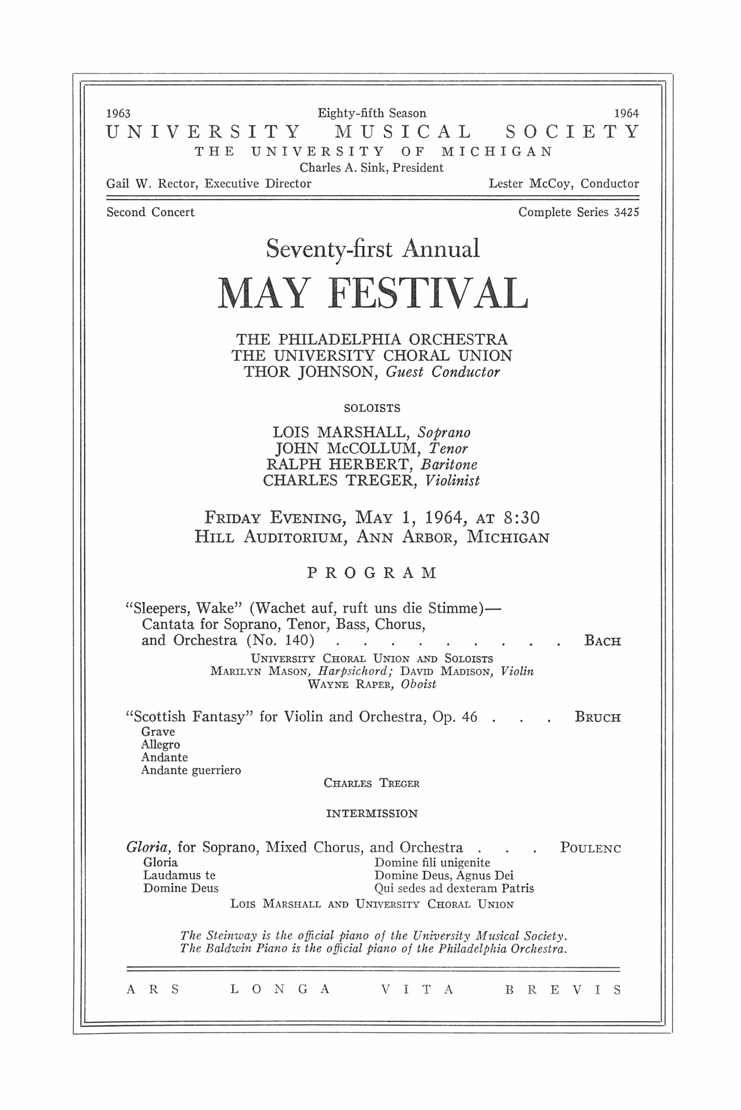 UMS Concert Program, May 1, 1964: Seventy-first Annual May Festival -- The Philadelphia Orchestra image