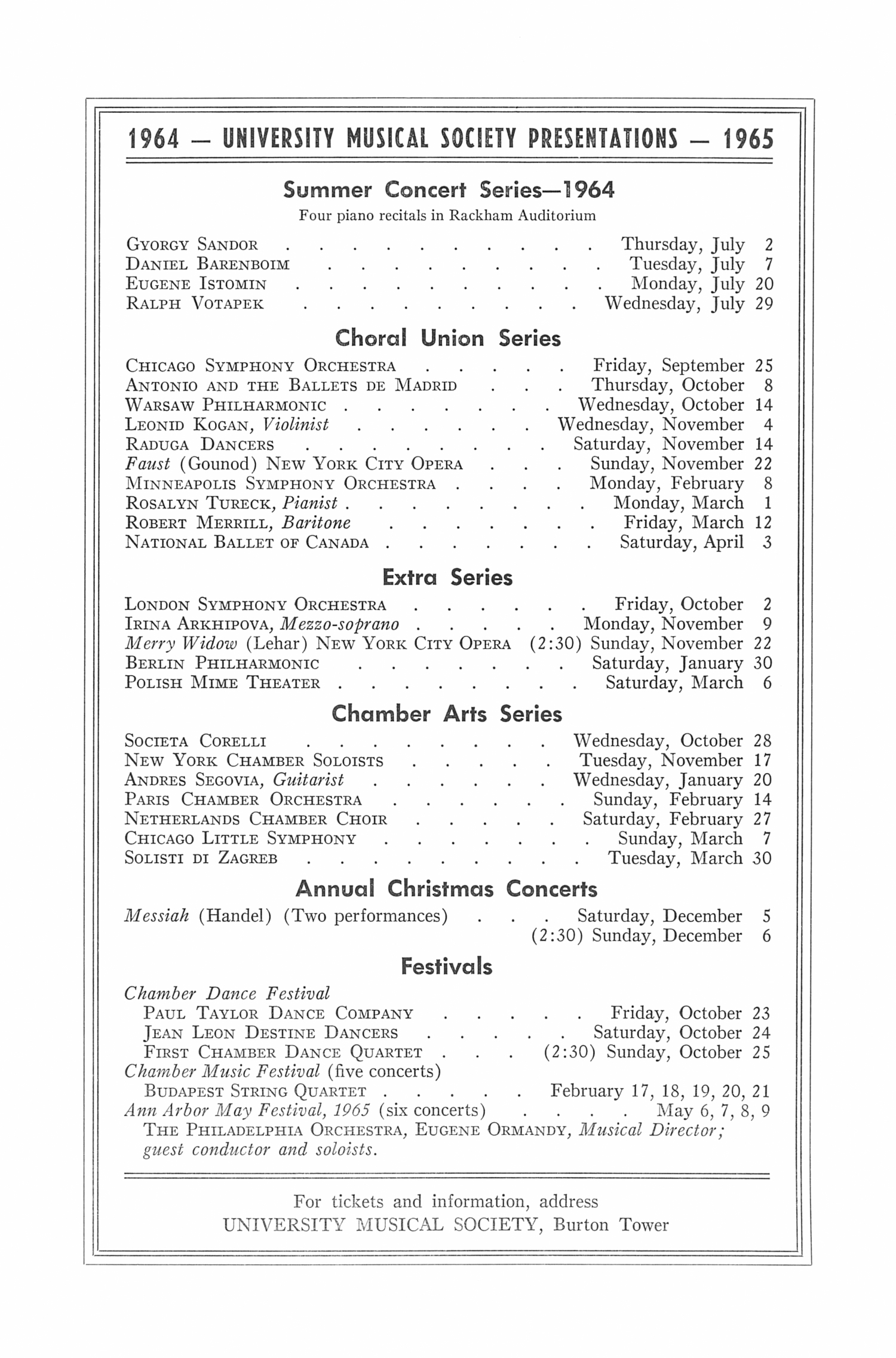 UMS Concert Program, May 2, 1964: Seventy-first Annual May Festival -- The Philadelphia Orchestra image