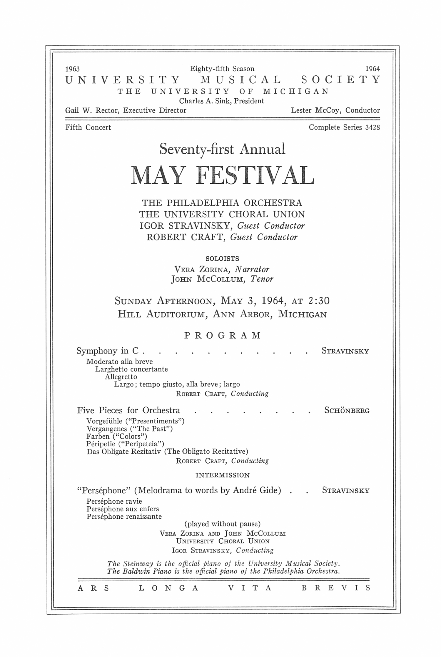 UMS Concert Program, May 3, 1964: Seventy-first Annual May Festival -- The Philadelphia Orchestra image