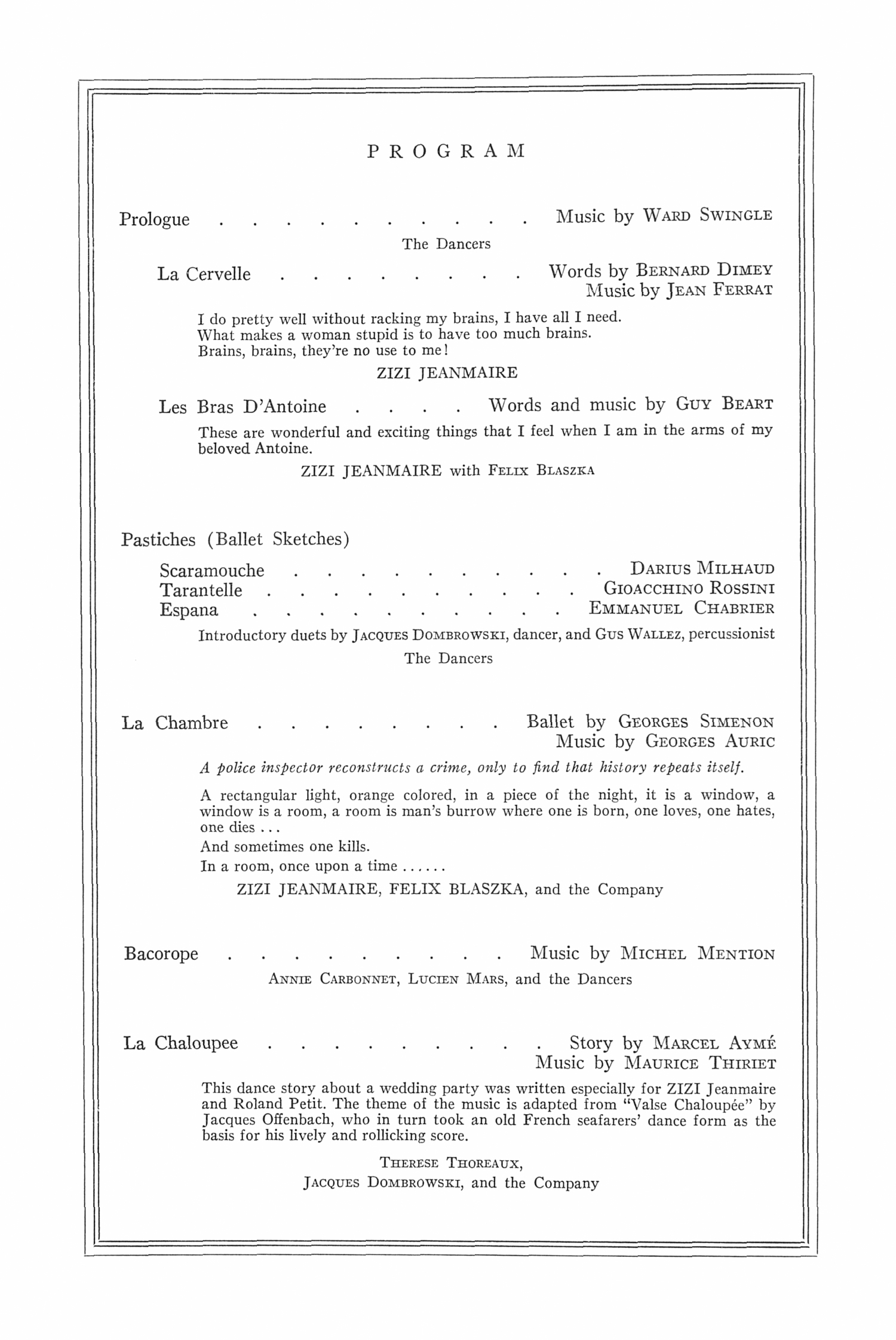 UMS Concert Program, September 29, 1964: Zizi Jeanmaire -- Therese Thoreux image