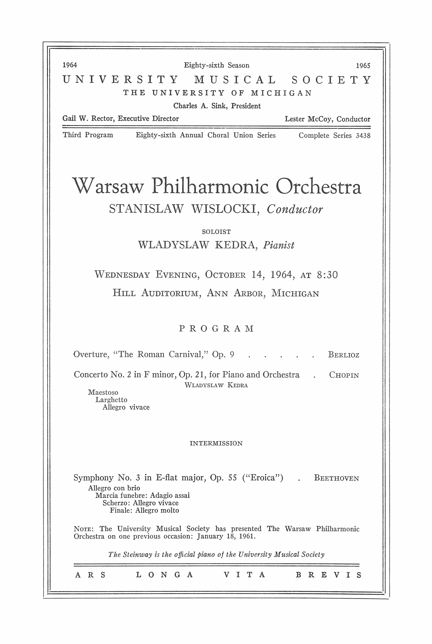UMS Concert Program, October 14, 1964: Warsaw Philharmonic Orchestra --  image