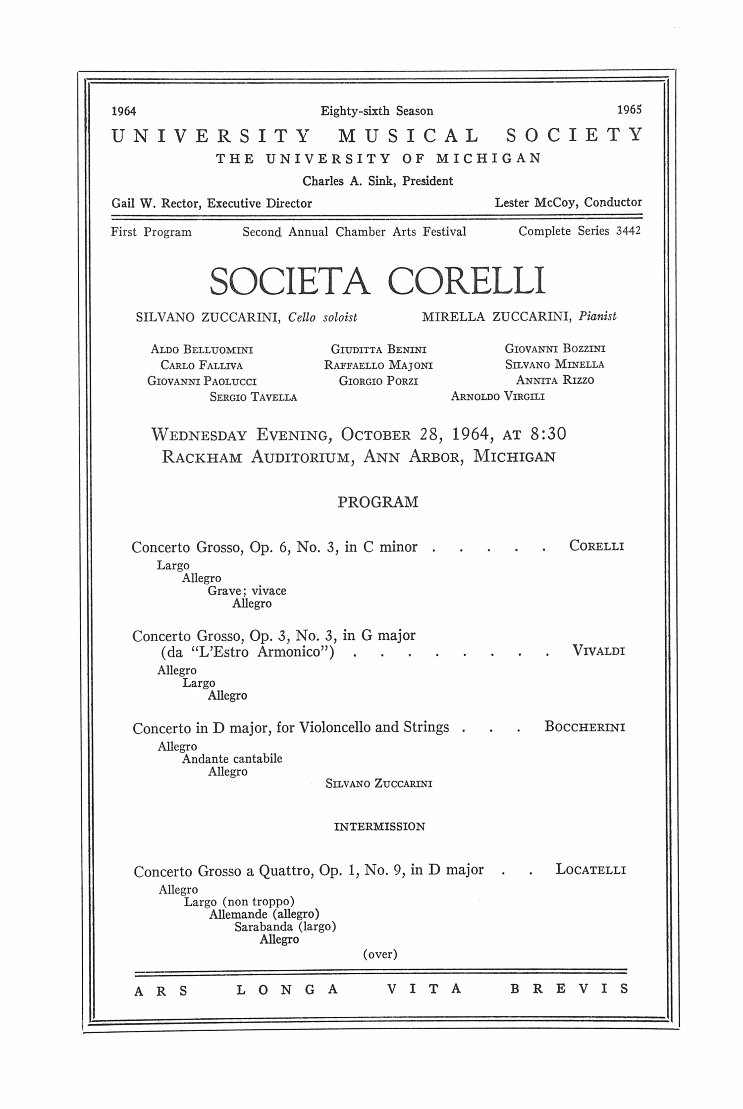 UMS Concert Program, October 28, 1964: Societa Corelli -- Silvano Zuccarini image