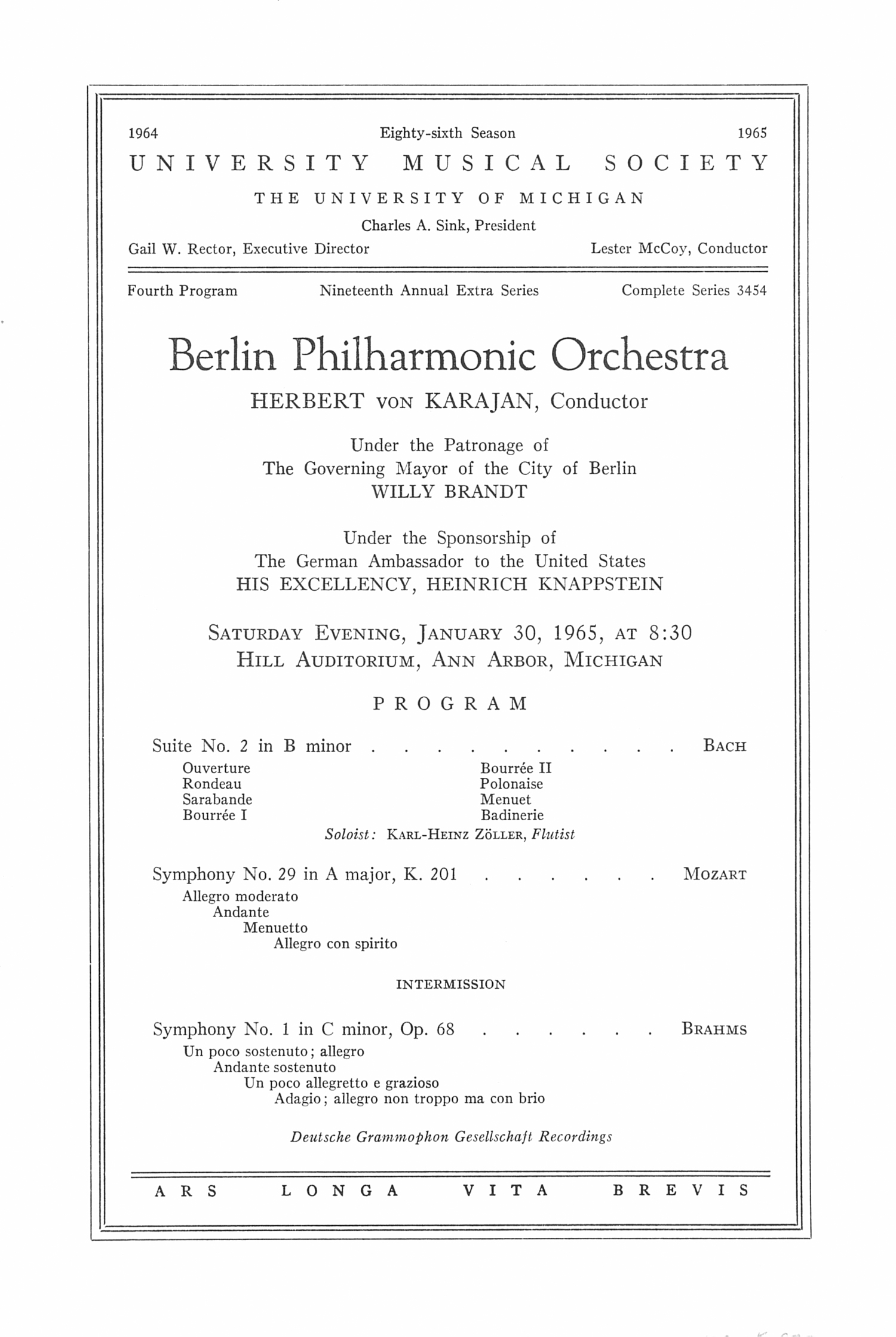 UMS Concert Program, January 30, 1965: Berlin Philharmonic Orchestra --  image