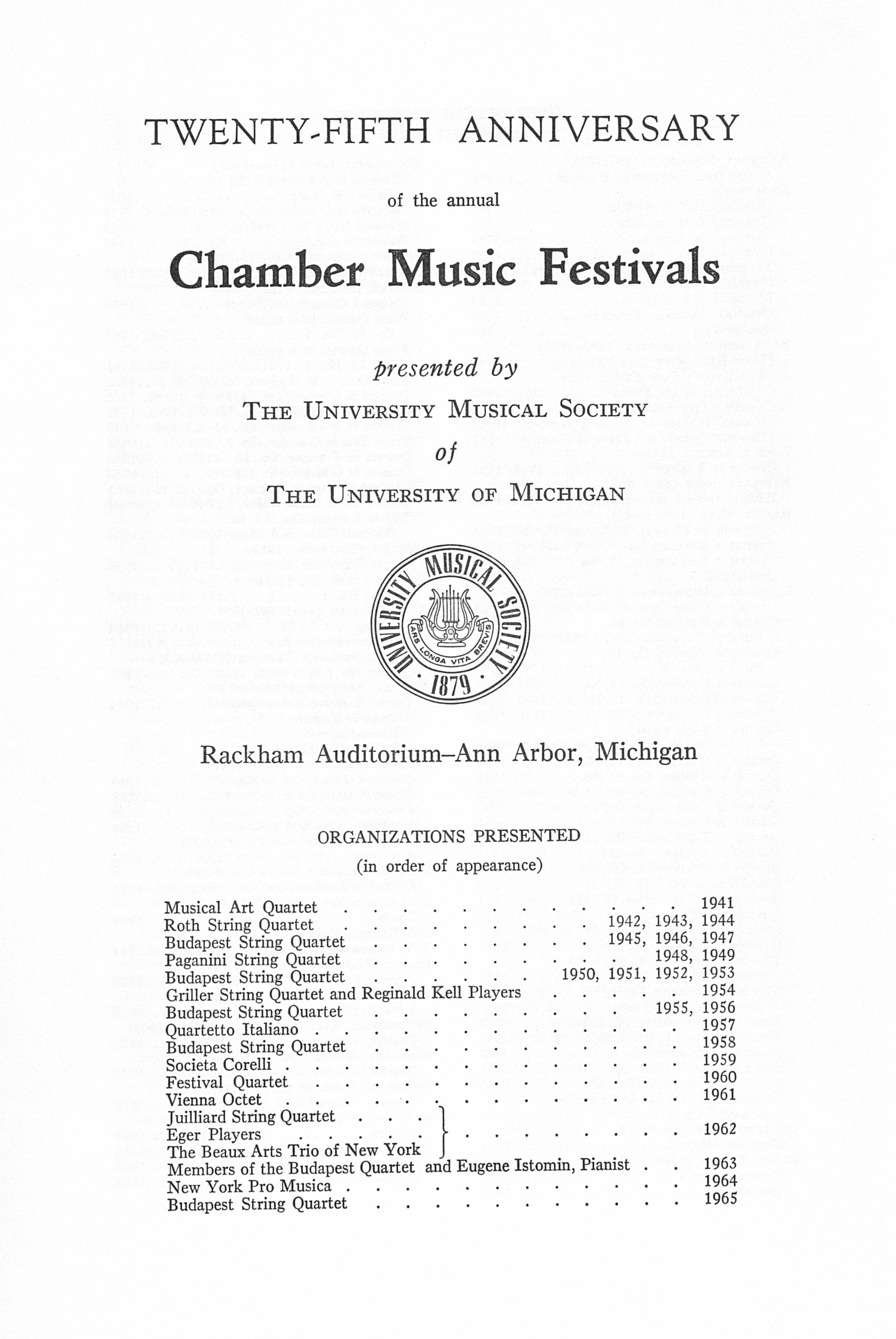 UMS Concert Program, : Twenty-fifth Anniversary Of The Annual Chamber Music Festivals --  image