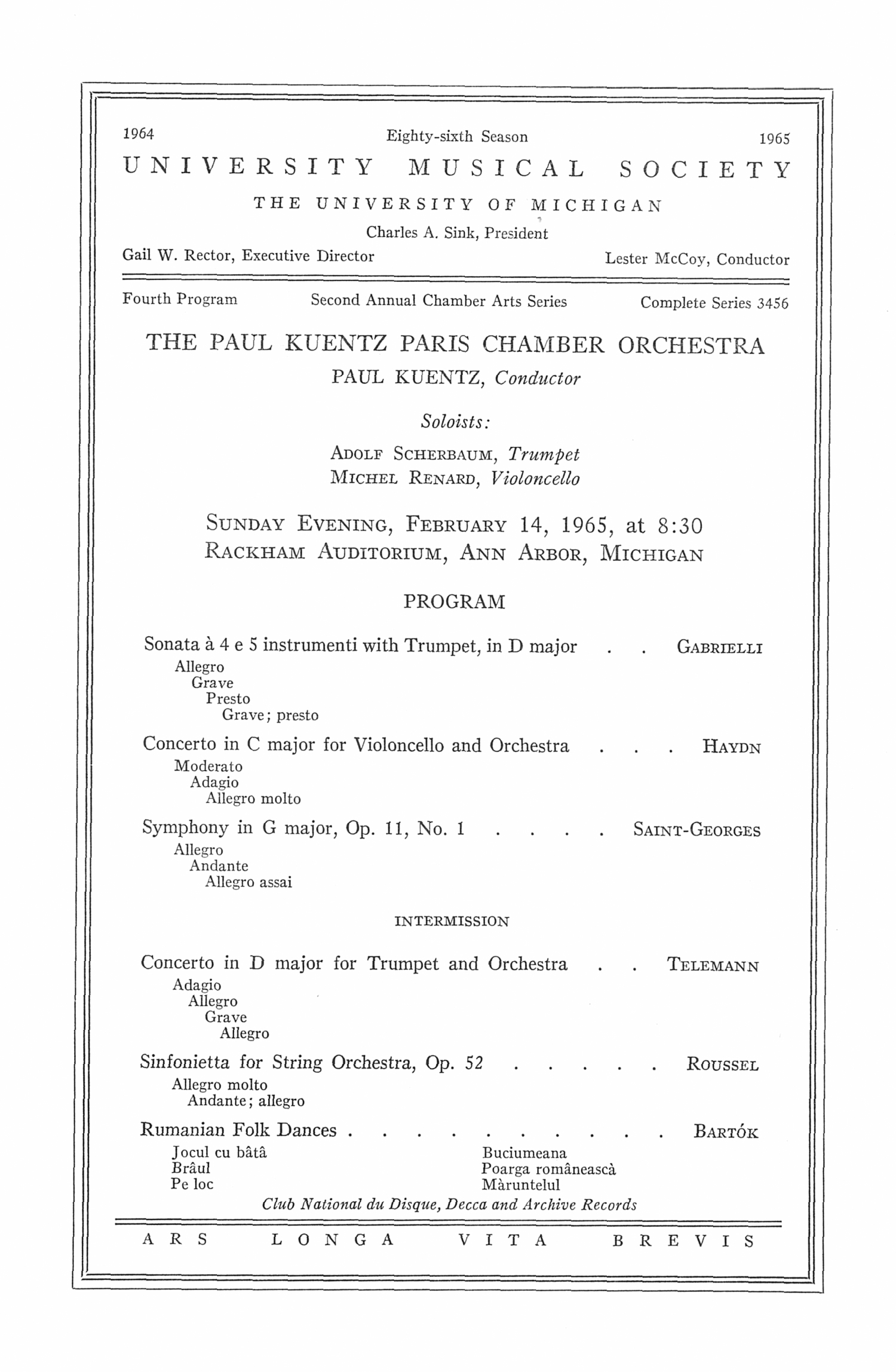 UMS Concert Program, February 14, 1965: The Paul Kuentz Paris Chamber Orchestra --  image