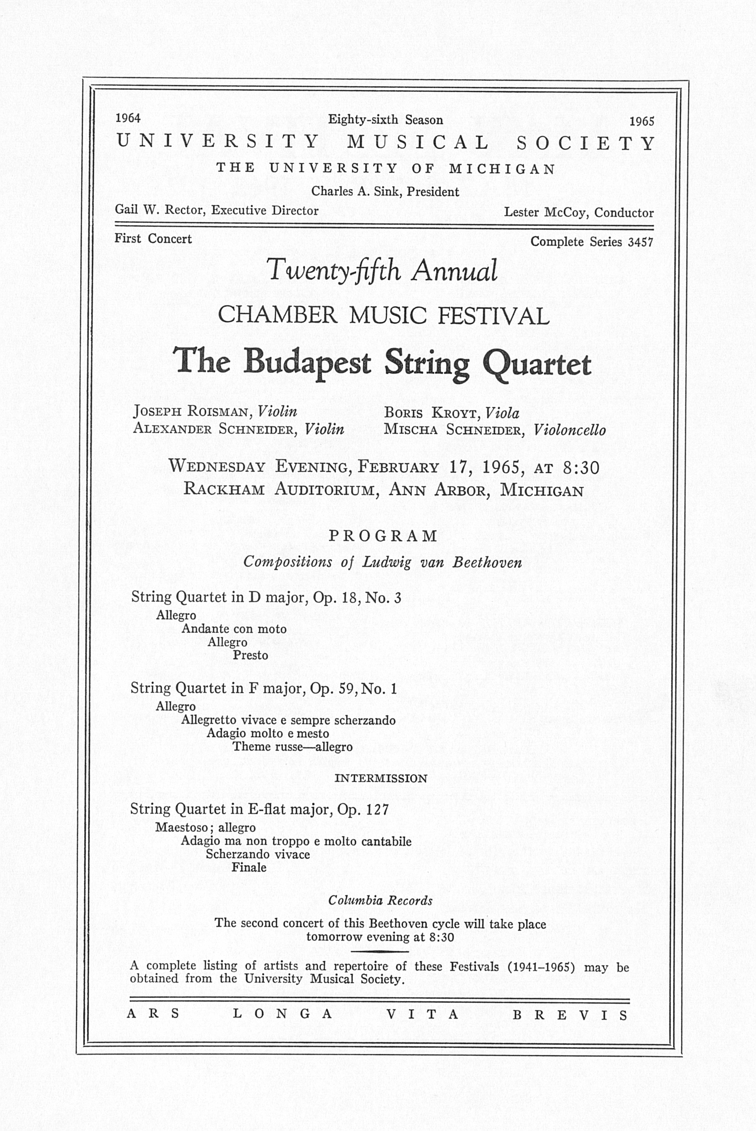 UMS Concert Program, February 17, 1965: Twenty-fifth Annual Chamber Music Festival -- The Budapest String Quartet image