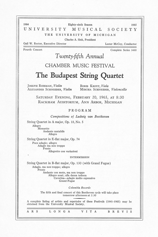 ums concert program february 20 1965 twentyfifth