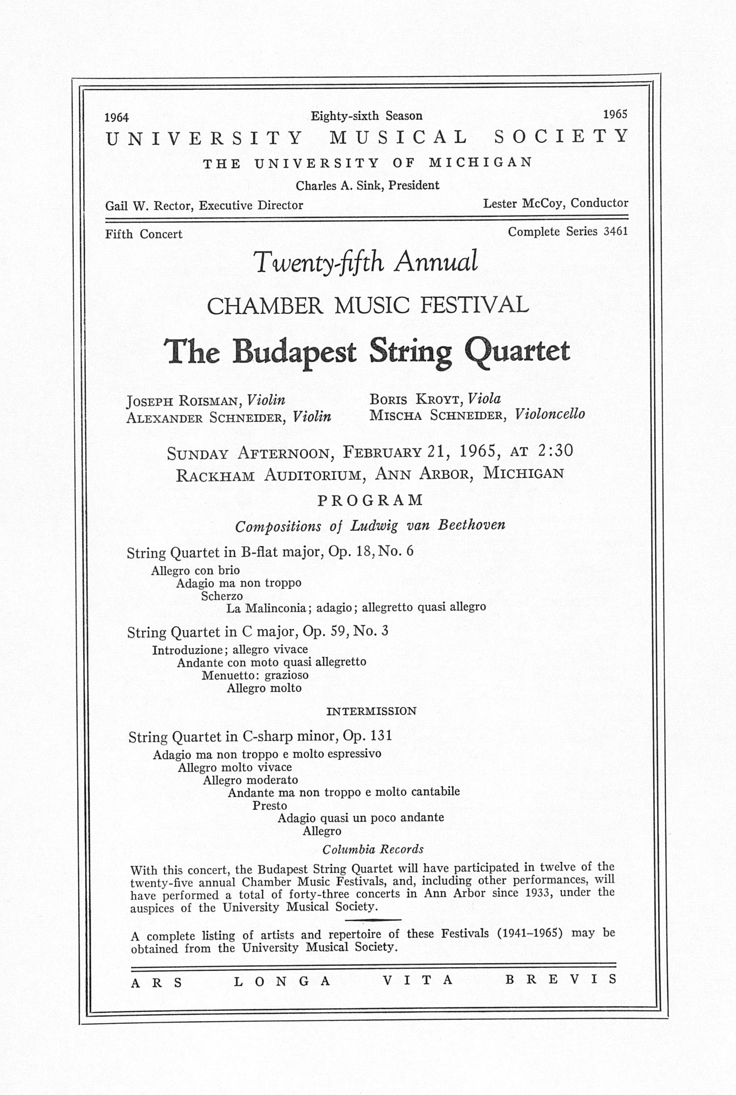 UMS Concert Program, February 21, 1965: Twenty-fifth Annual Chamber Music Festival -- The Budapest String Quartet image