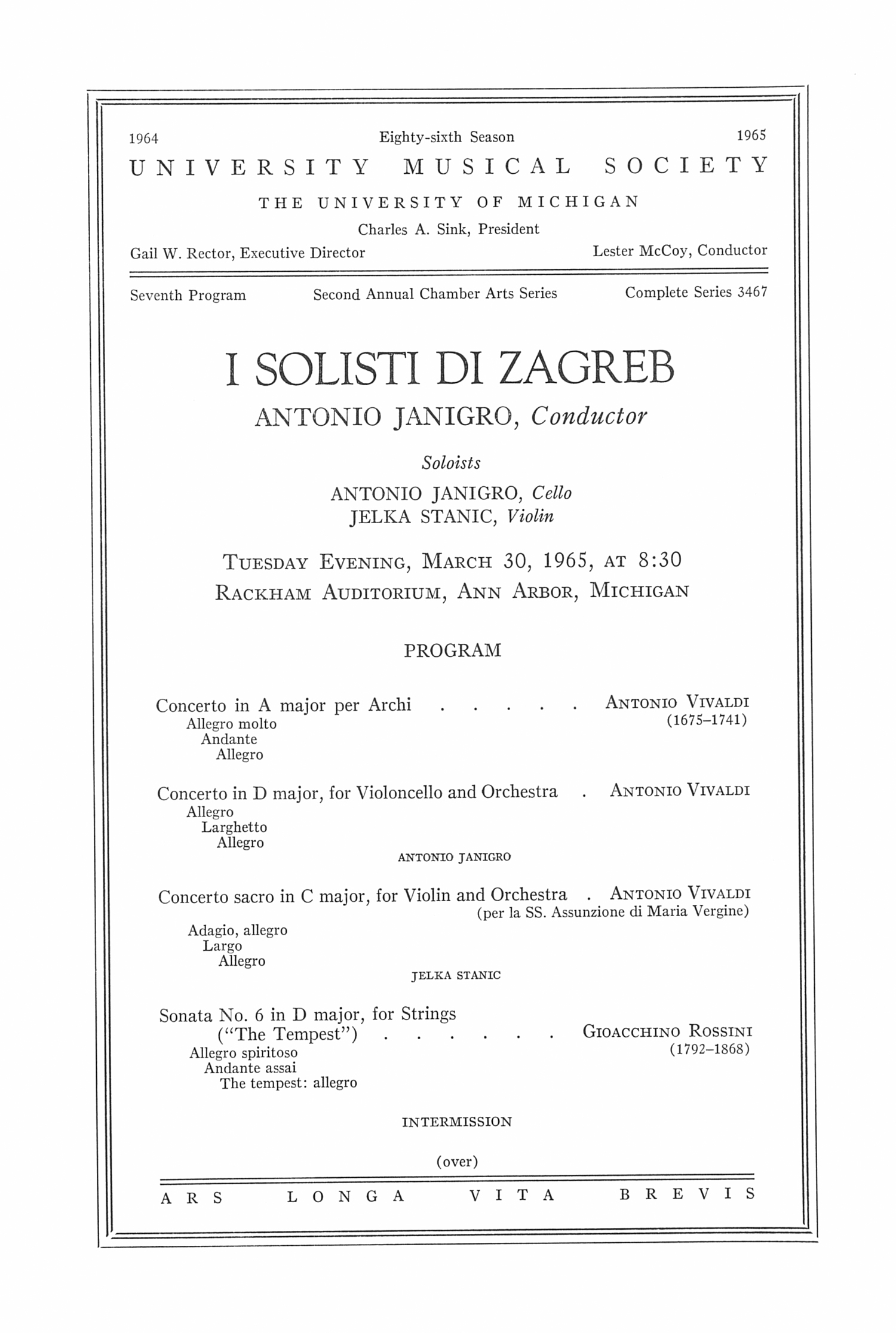 UMS Concert Program, March 30, 1965: I Solisti Di Zagreb -- Antonio Janigro image
