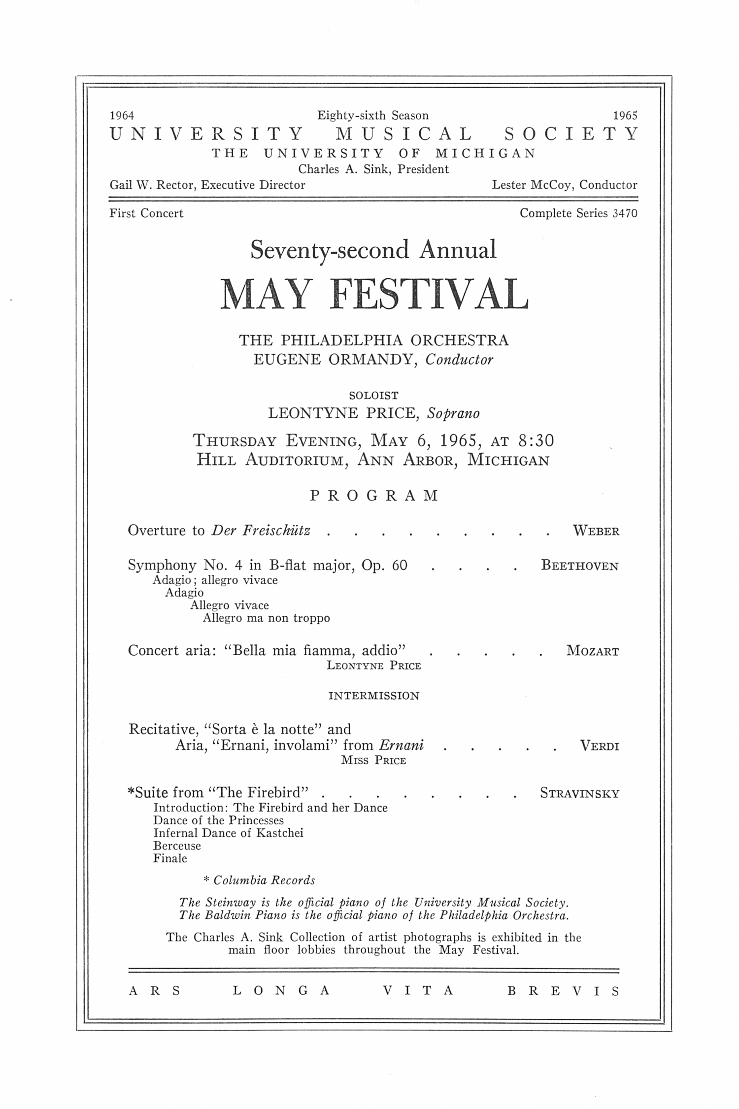 UMS Concert Program, May 6, 1965: Seventy-second Annual May Festival -- The Philadelphia Orchestra image