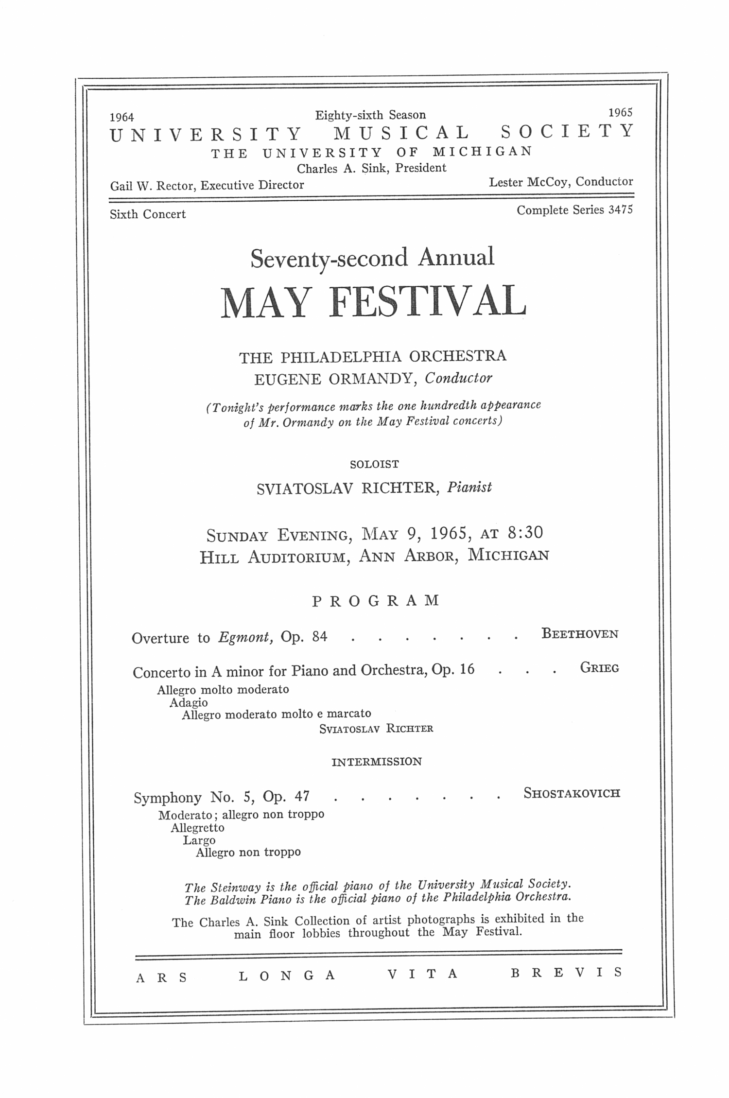 UMS Concert Program, May 9, 1965: Seventy-second Annual May Festival -- The Philadelphia Orchestra image