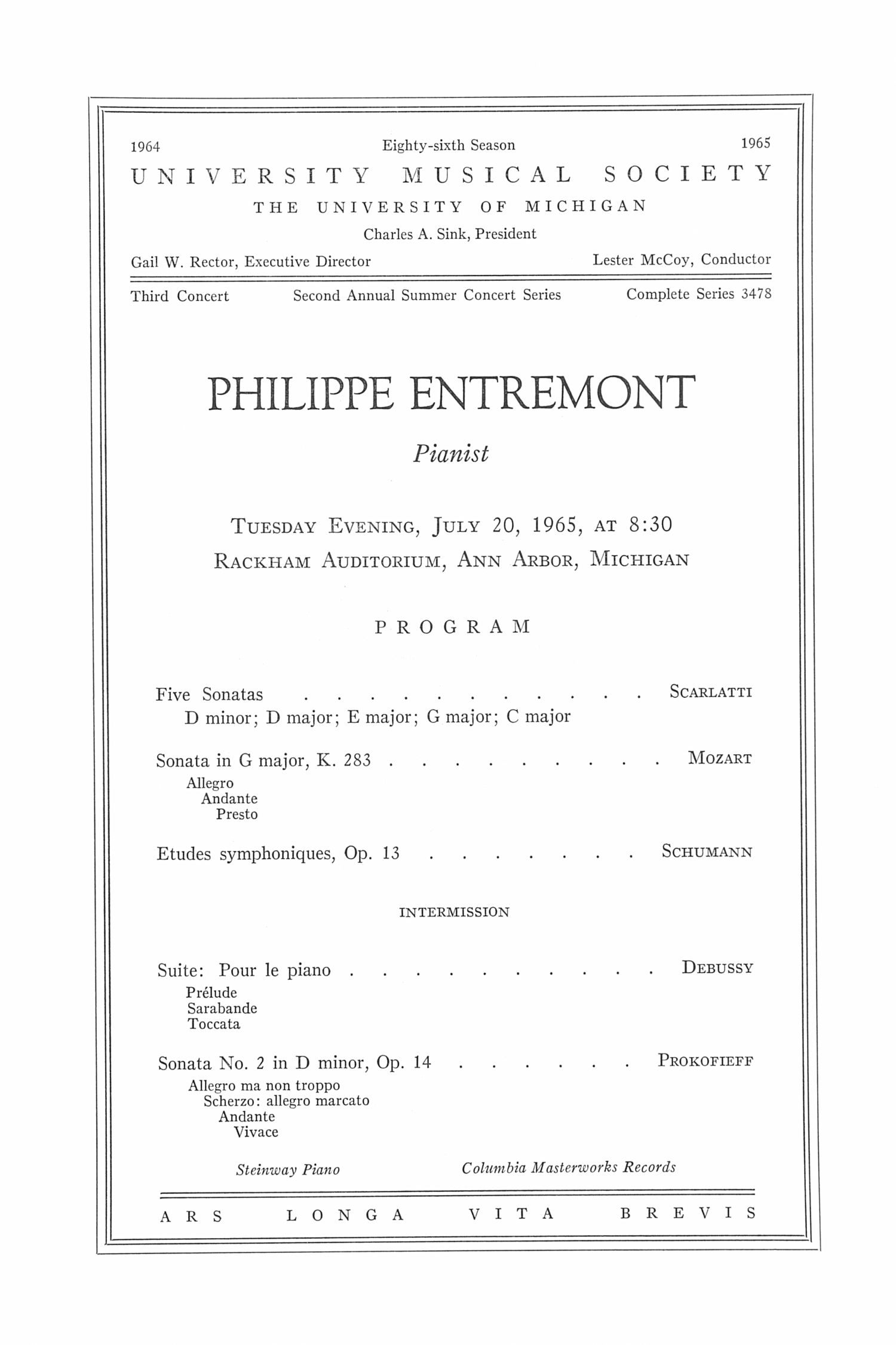 UMS Concert Program, July 20, 1965: Philippe Entremont --  image