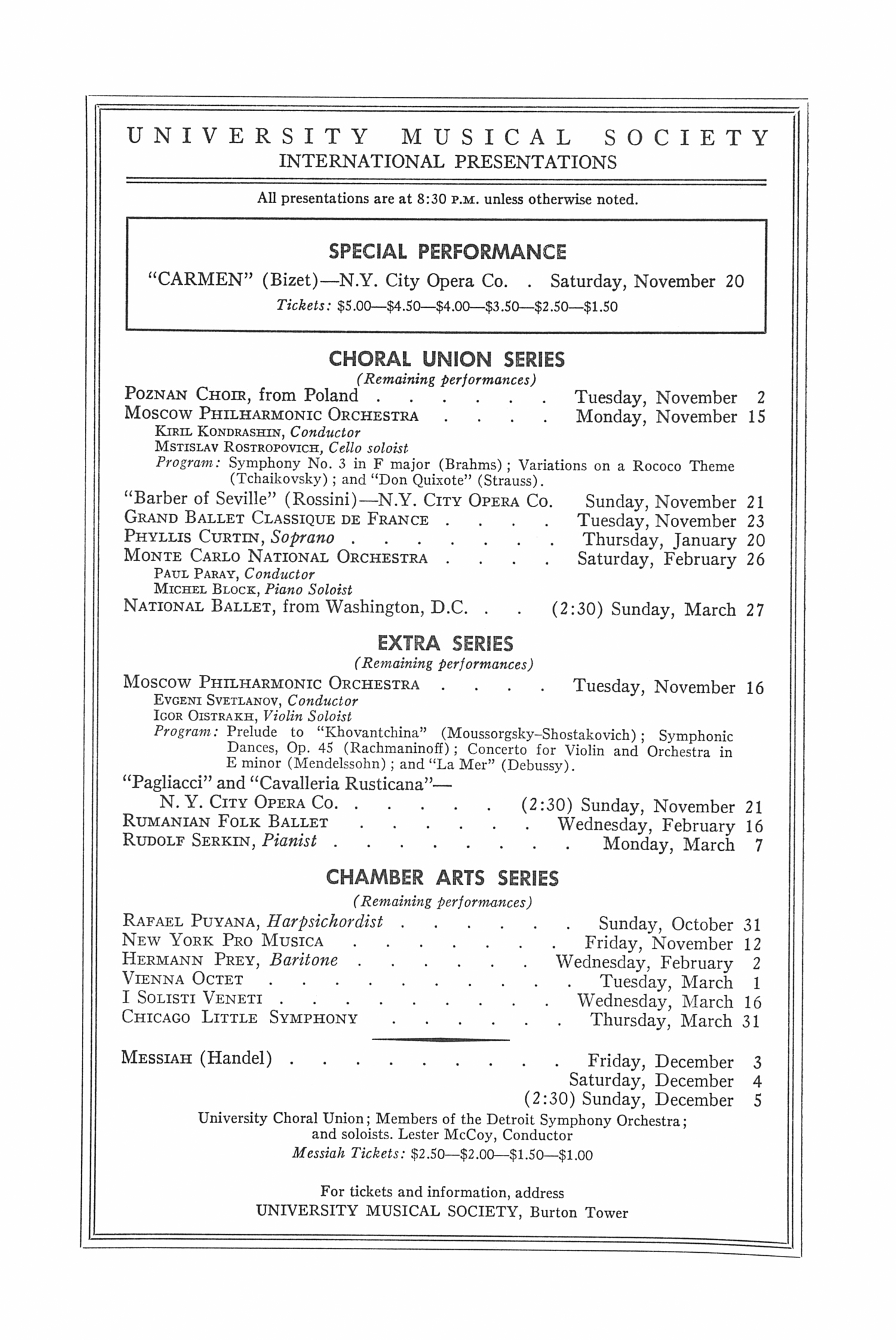 UMS Concert Program, October 29, 1965: The Czech Philharmonic Orchestra --  image