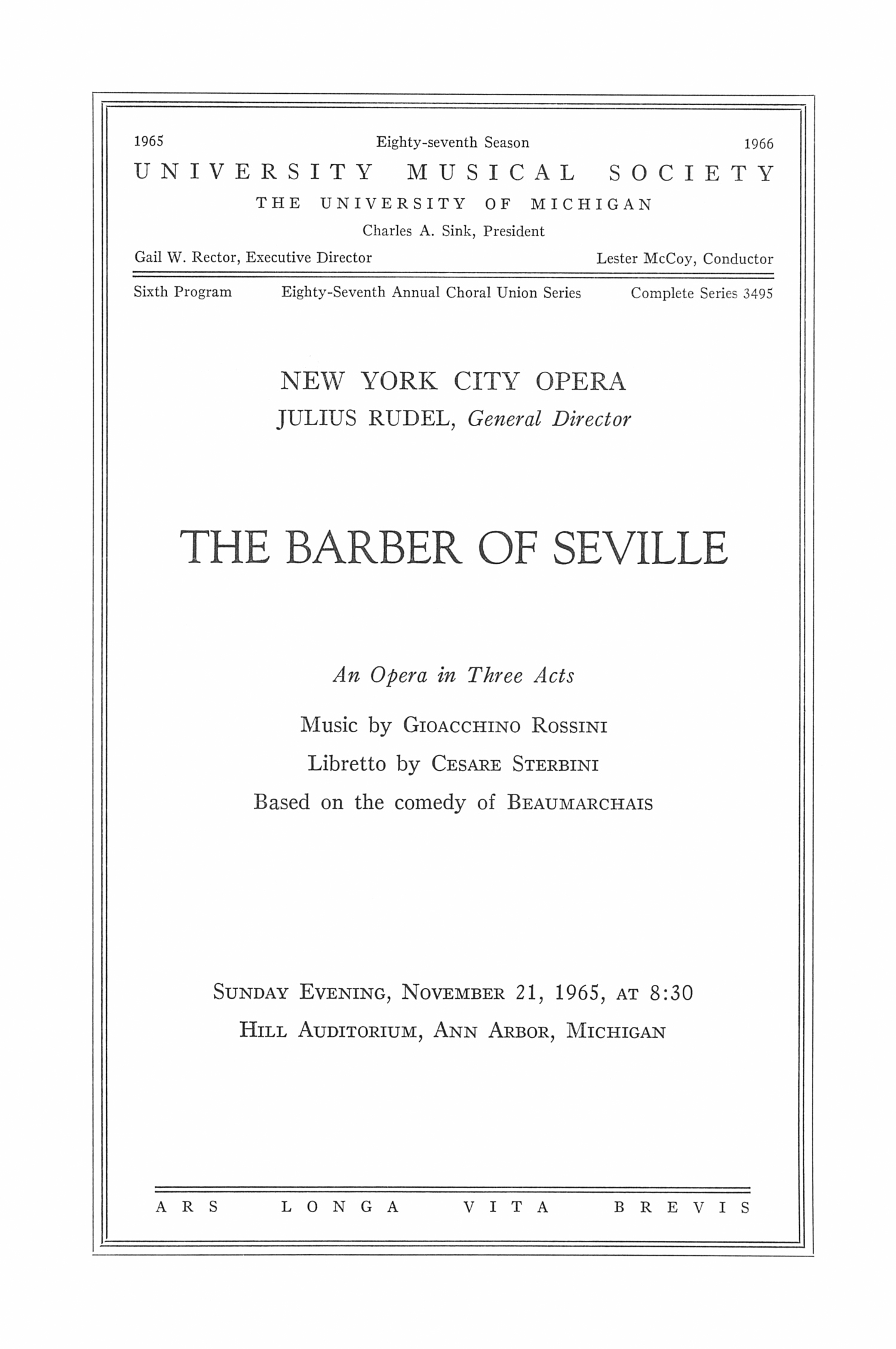 UMS Concert Program, November 21, 1965: The Barber Of Seville -- Julius Rudei image