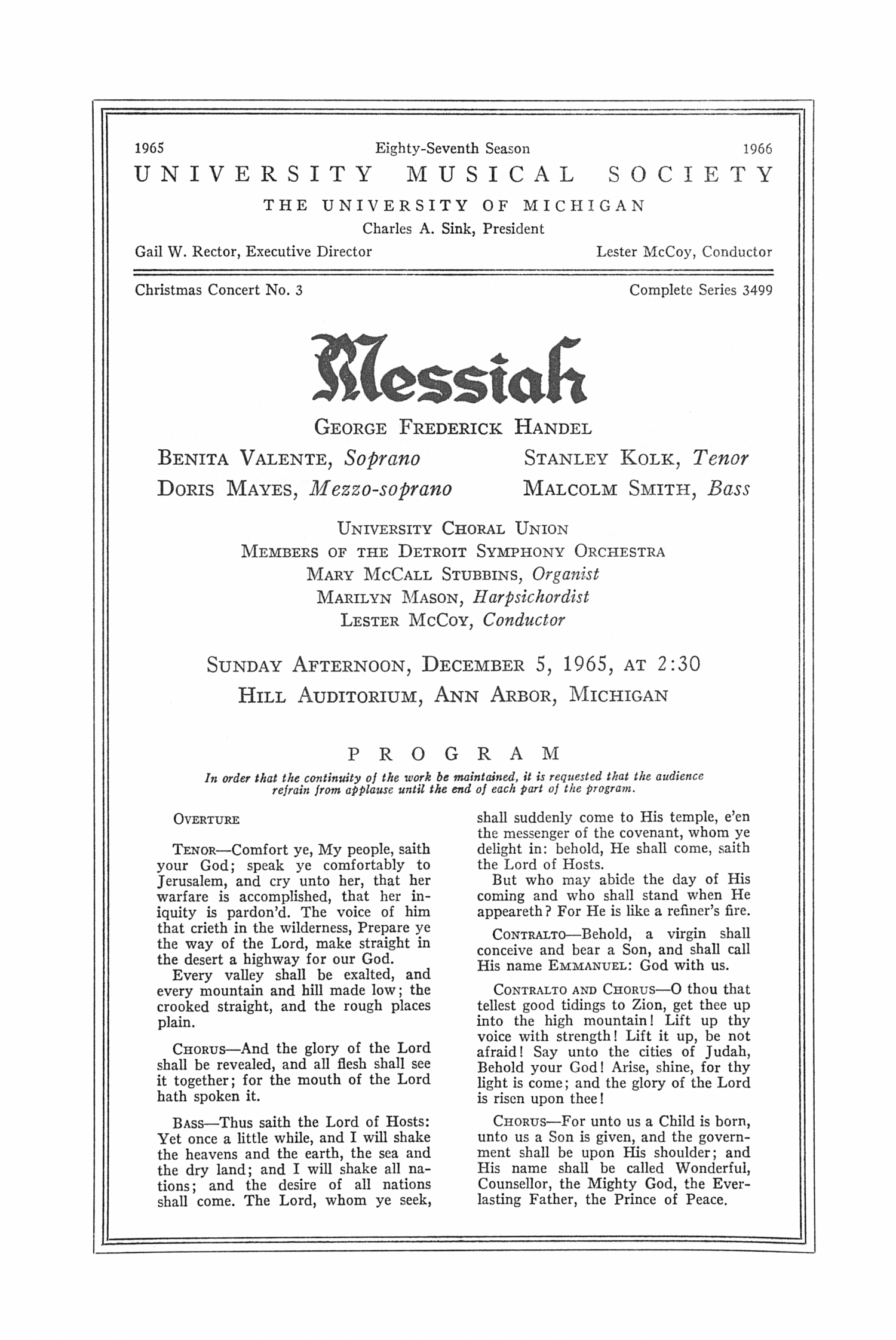 UMS Concert Program, December 5, 1965: Messiah -- George Frederick Handel image