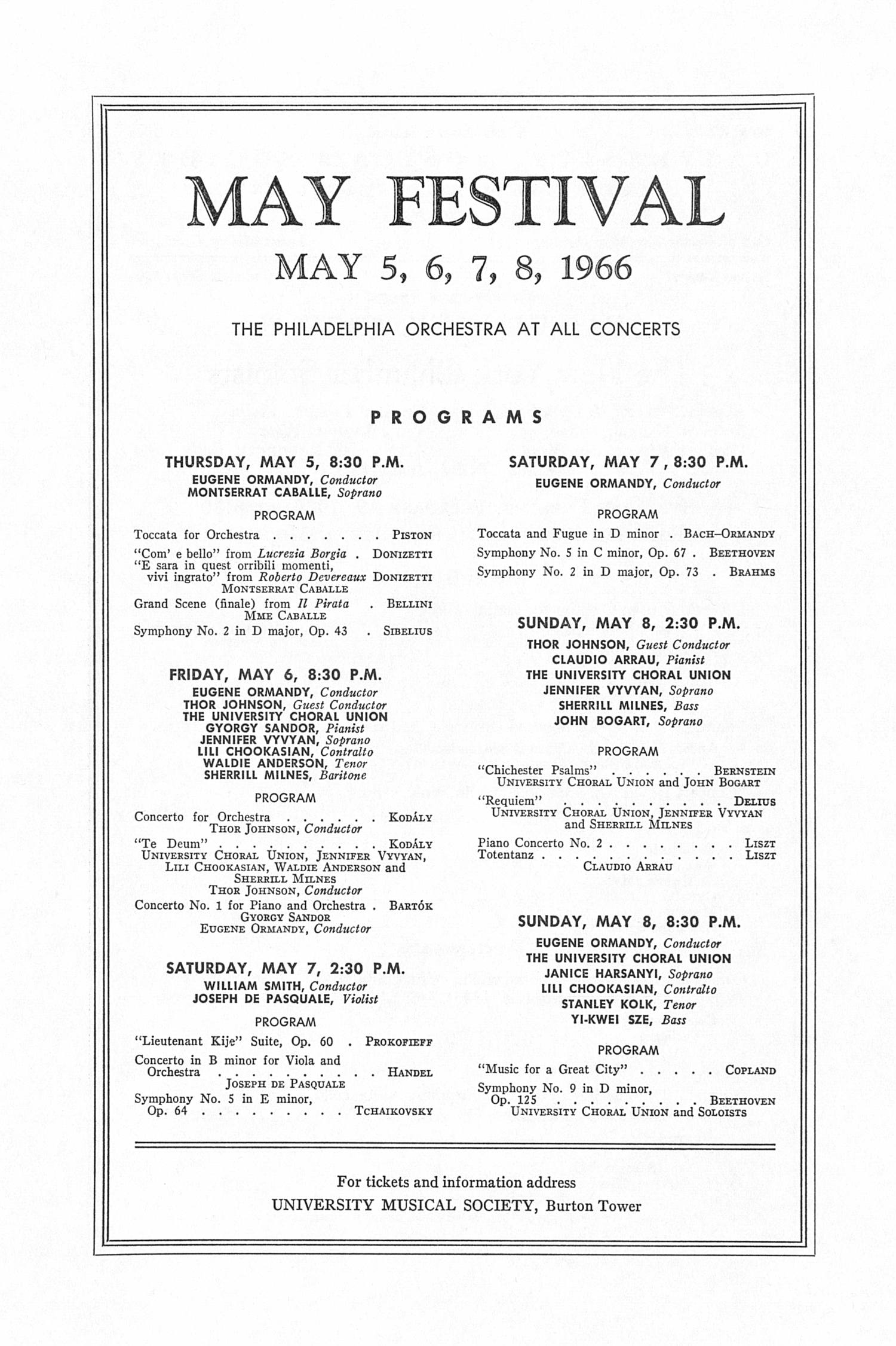 UMS Concert Program, February 19, 1966: Twenty-sixth Annual Chamber Music Festival --  image