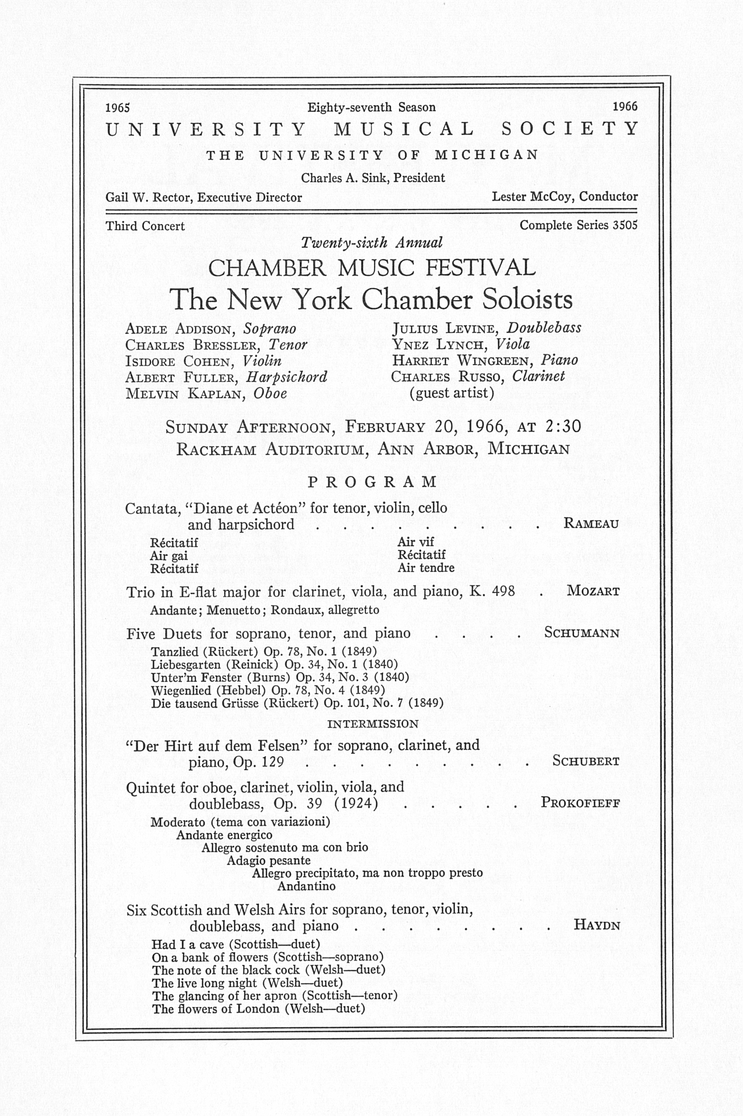 UMS Concert Program, February 20, 1966: Twenty-sixth Annual Chamber Music Festival --  image
