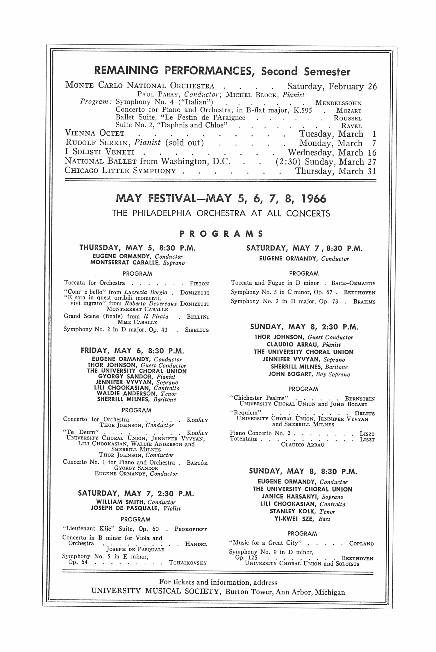 UMS Concert Program, February 23, 1966: Van Cliburn --  image