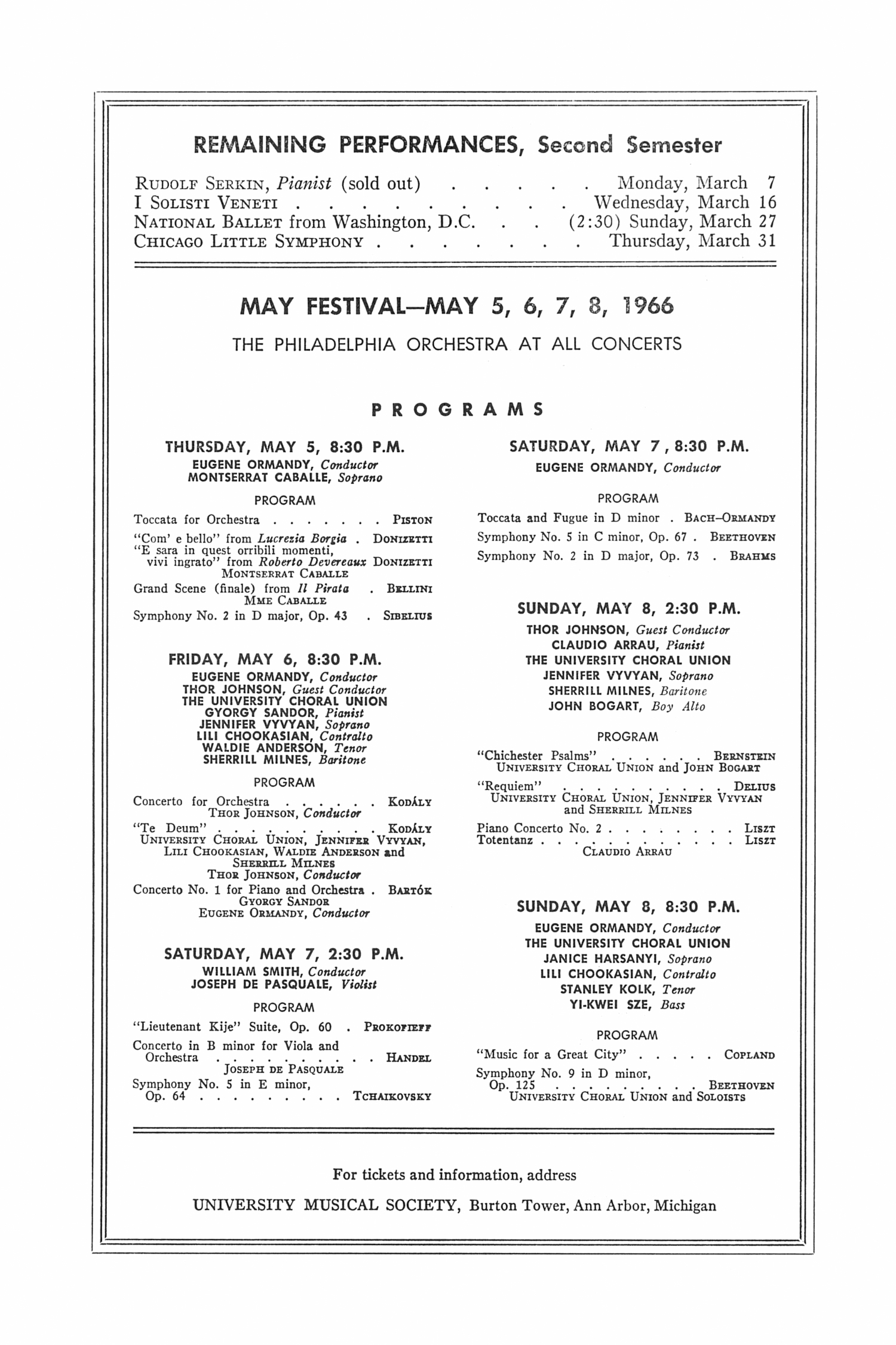 UMS Concert Program, March 1, 1966: Vienna Octet --  image
