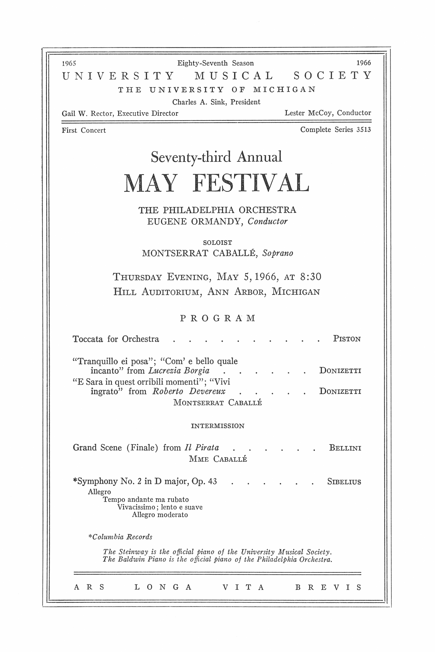 UMS Concert Program, May 5, 1966: Seventy-third Annual May Festival -- The Philadelphia Orchestra image