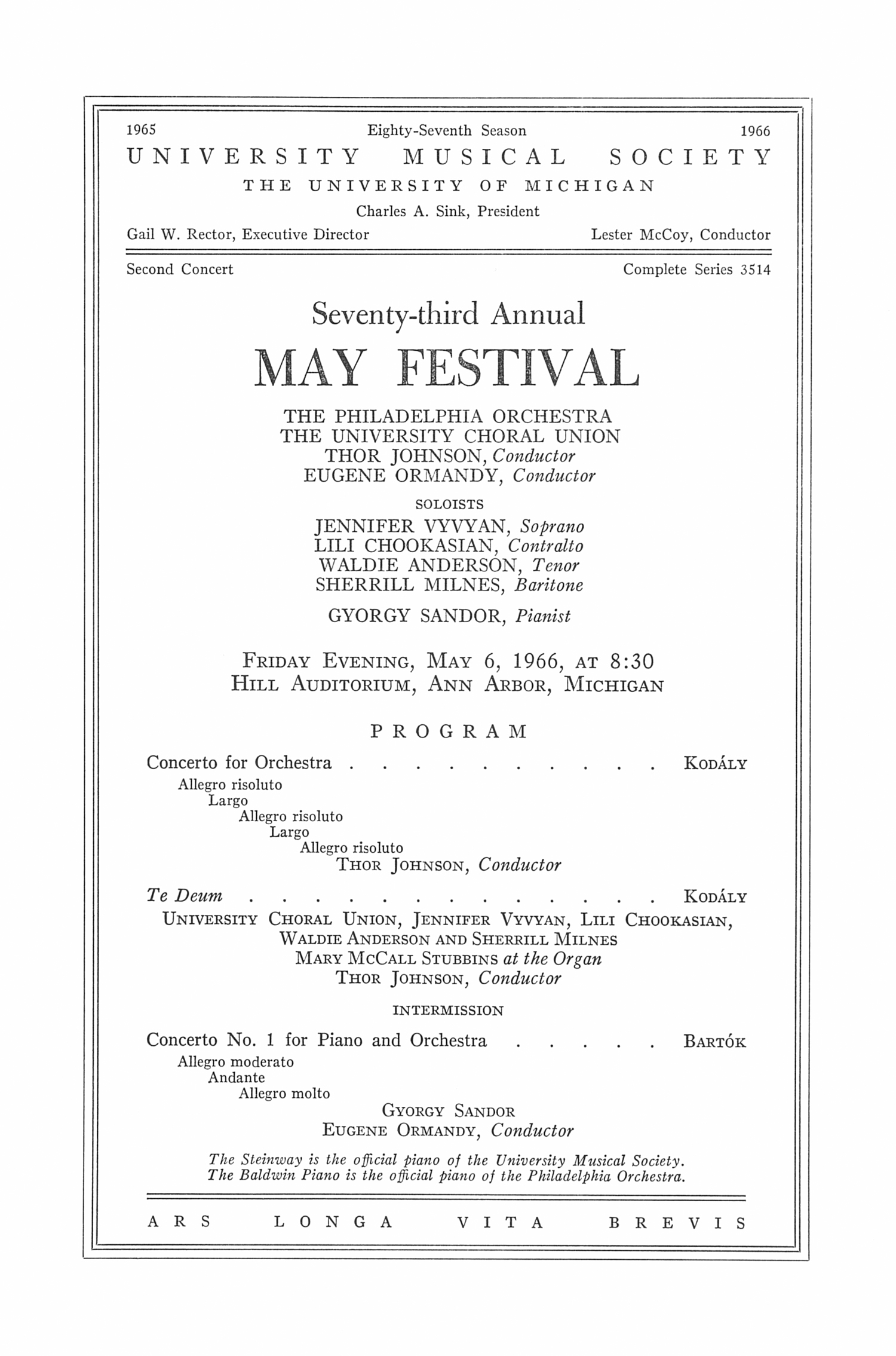 UMS Concert Program, May 6, 1966: Seventy-third Annual May Festival -- The Philadelphia Orchestra image