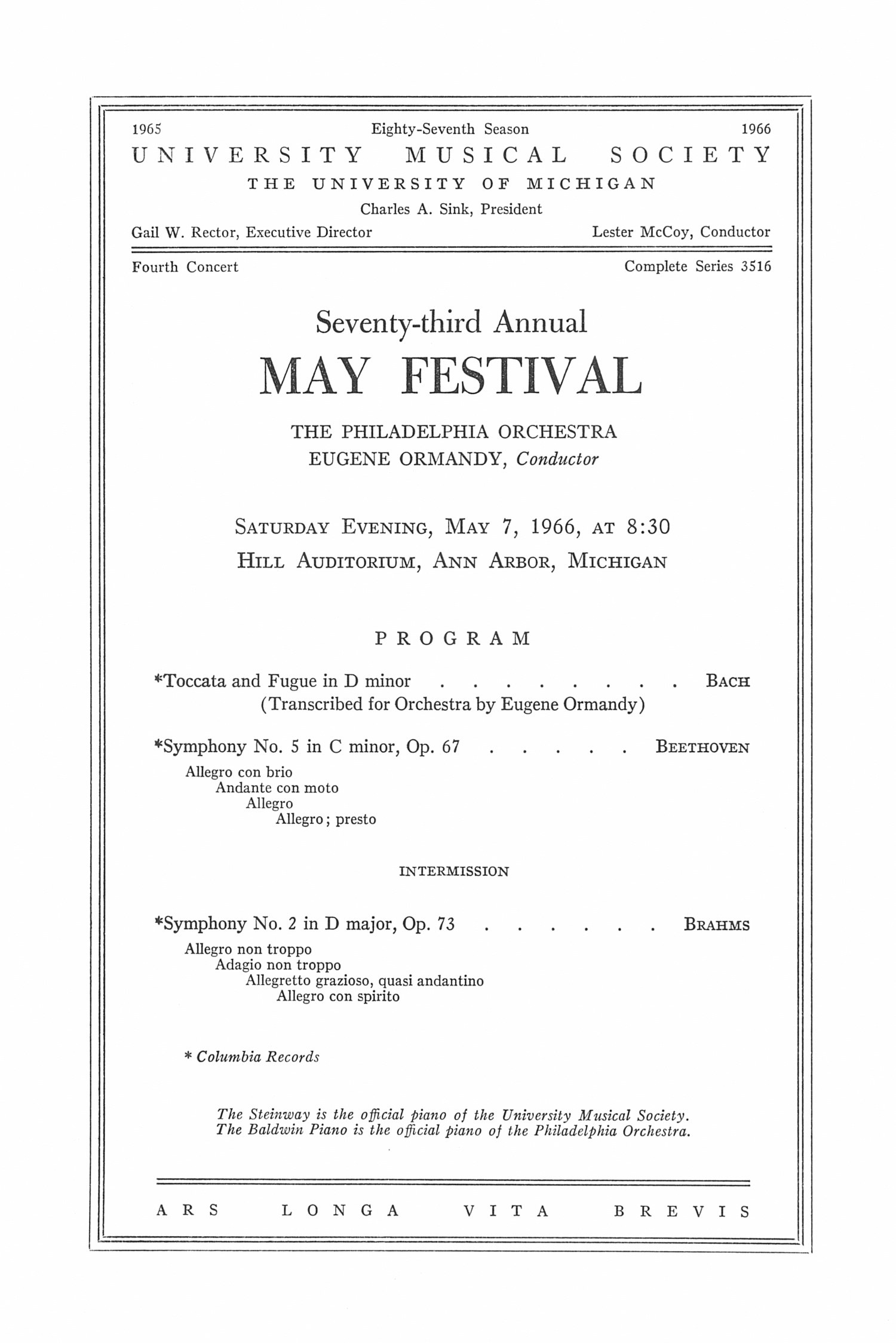 UMS Concert Program, May 7, 1966: Seventy-third Annual May Festival -- The Philadelphia Orchestra image