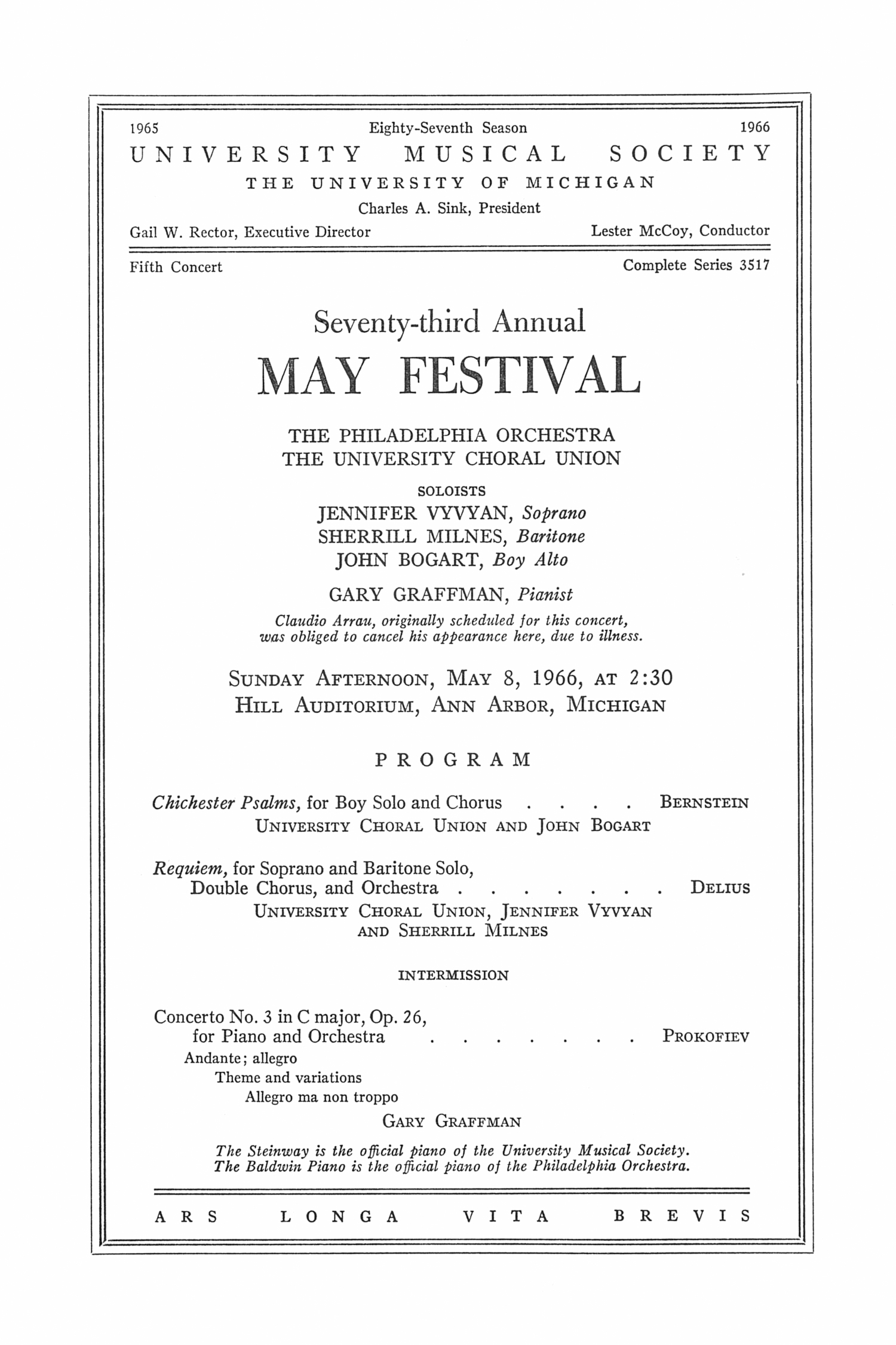 UMS Concert Program, May 8, 1966: Seventy-third Annual May Festival -- The Philadelphia Orchestra image
