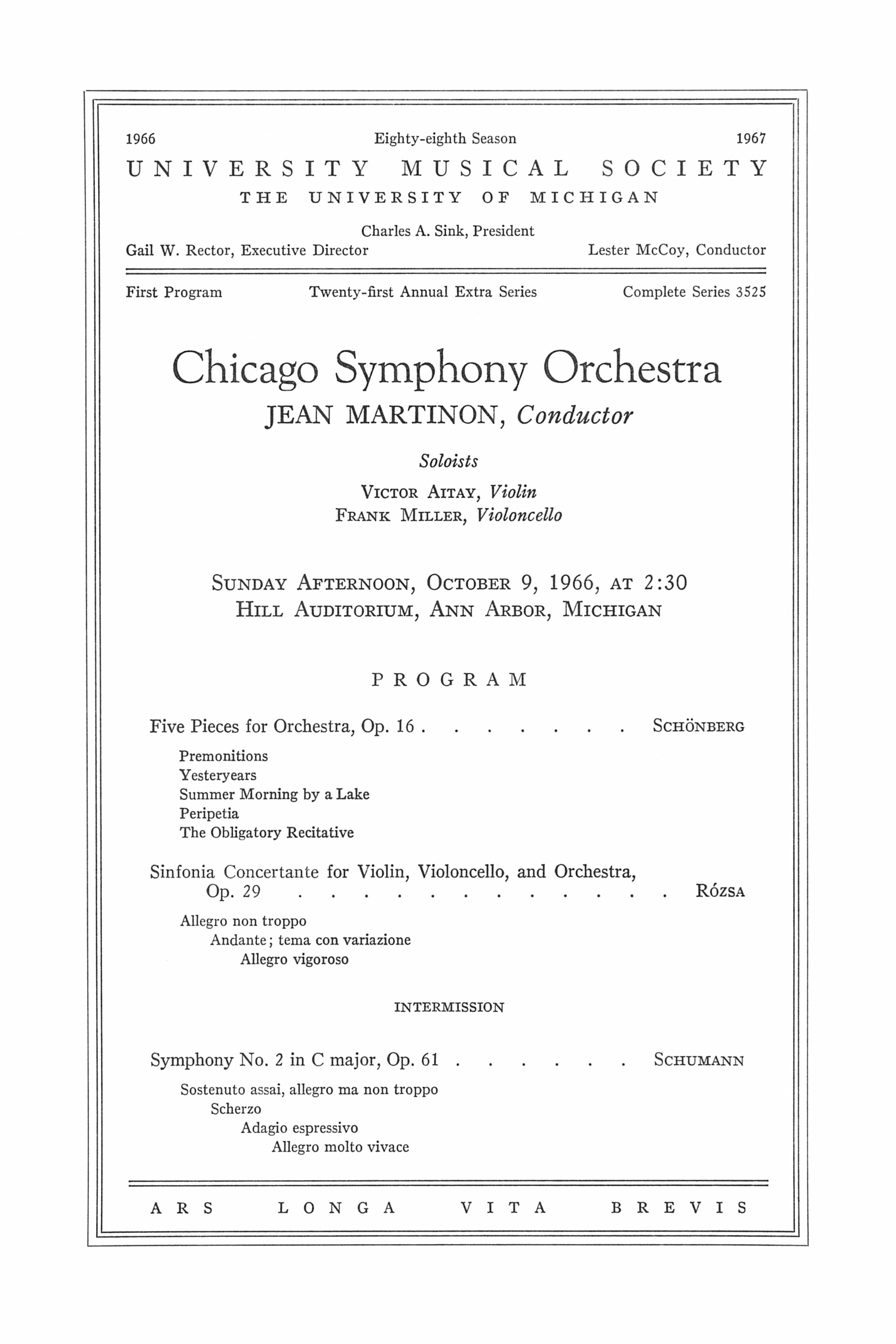 UMS Concert Program, October 9, 1966: Chicago Symphony Orchestra -- Jean Martinon image