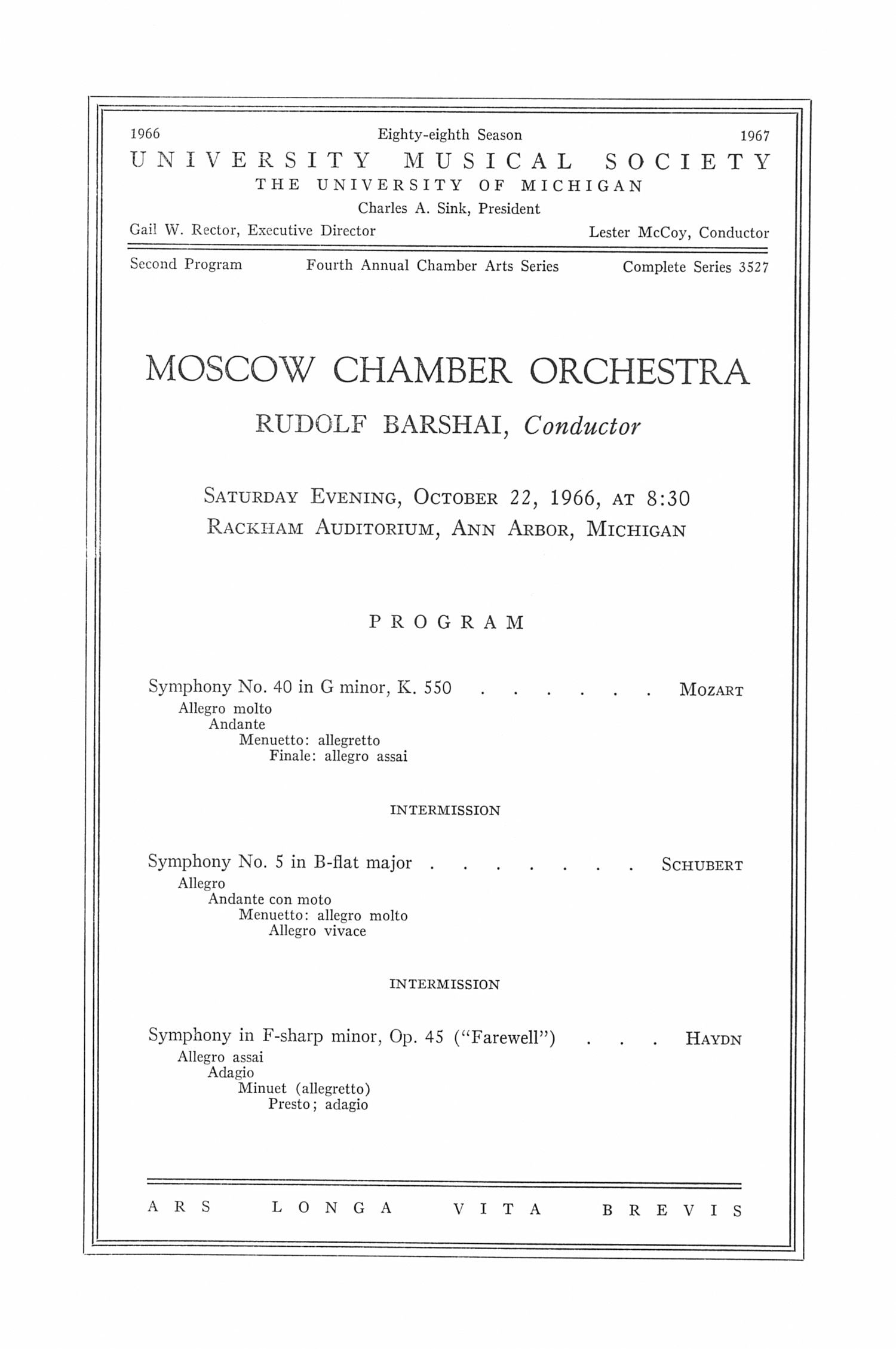 UMS Concert Program, October 22, 1966: Moscow Chamber Orchestra --  image