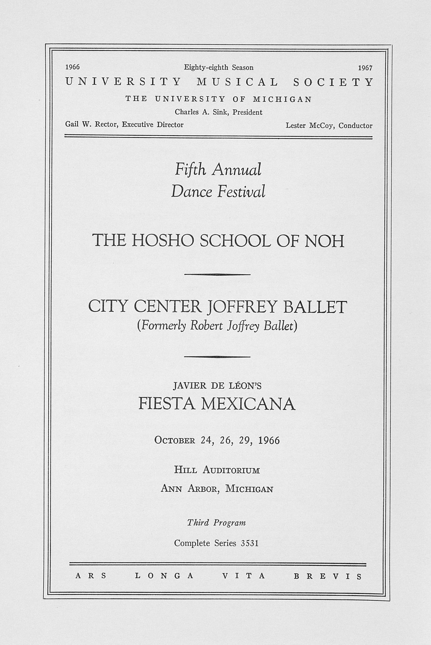 UMS Concert Program, October 24, 26, 29, 1966: The Hosho School Of Noh --  image