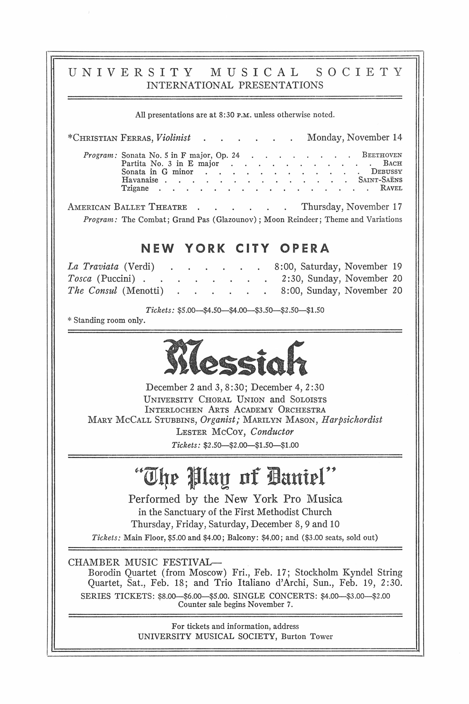 UMS Concert Program, November 8, 1966: Emil Gilels --  image