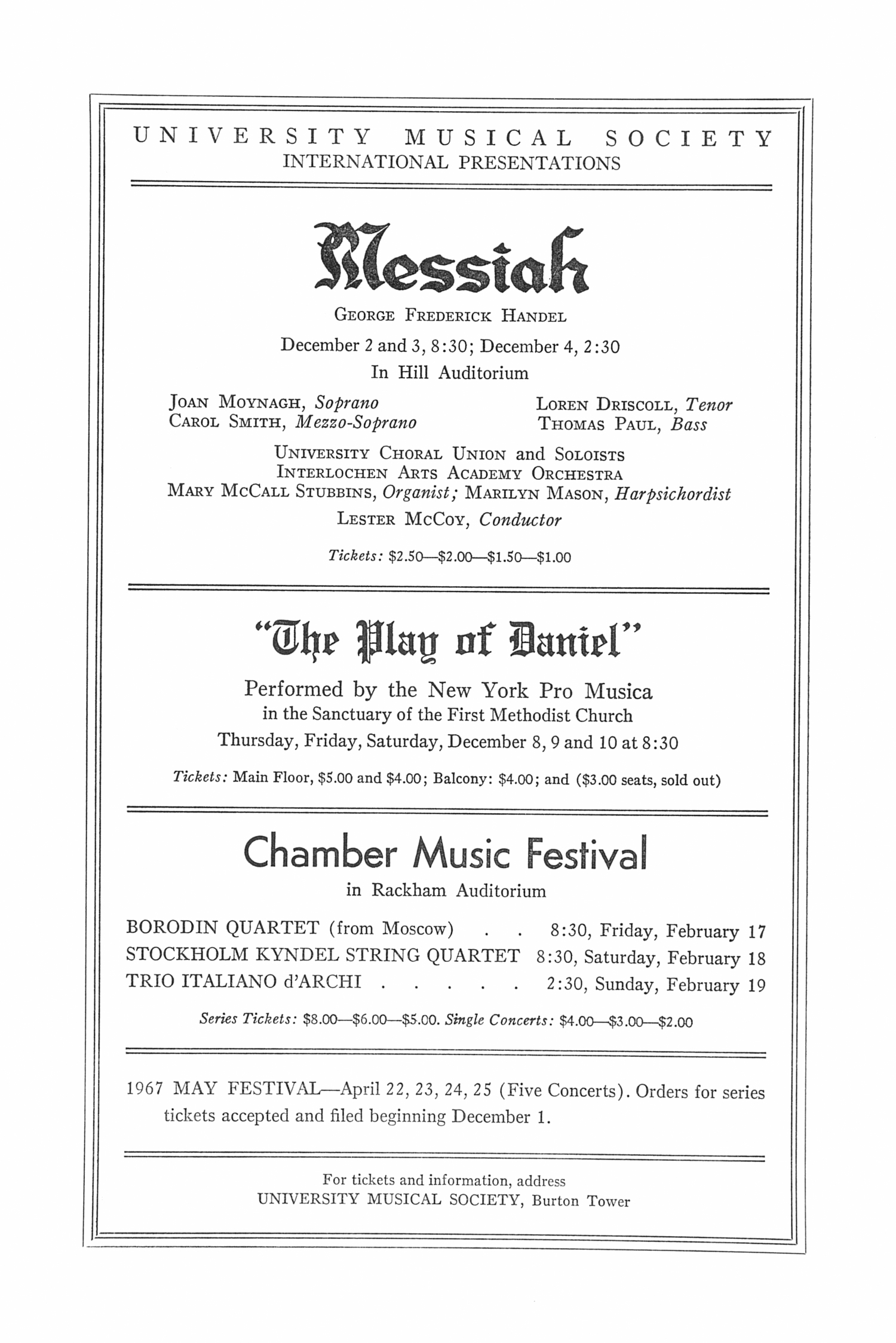 UMS Concert Program, November 20, 1966: Tosca -- Julius Rudel image