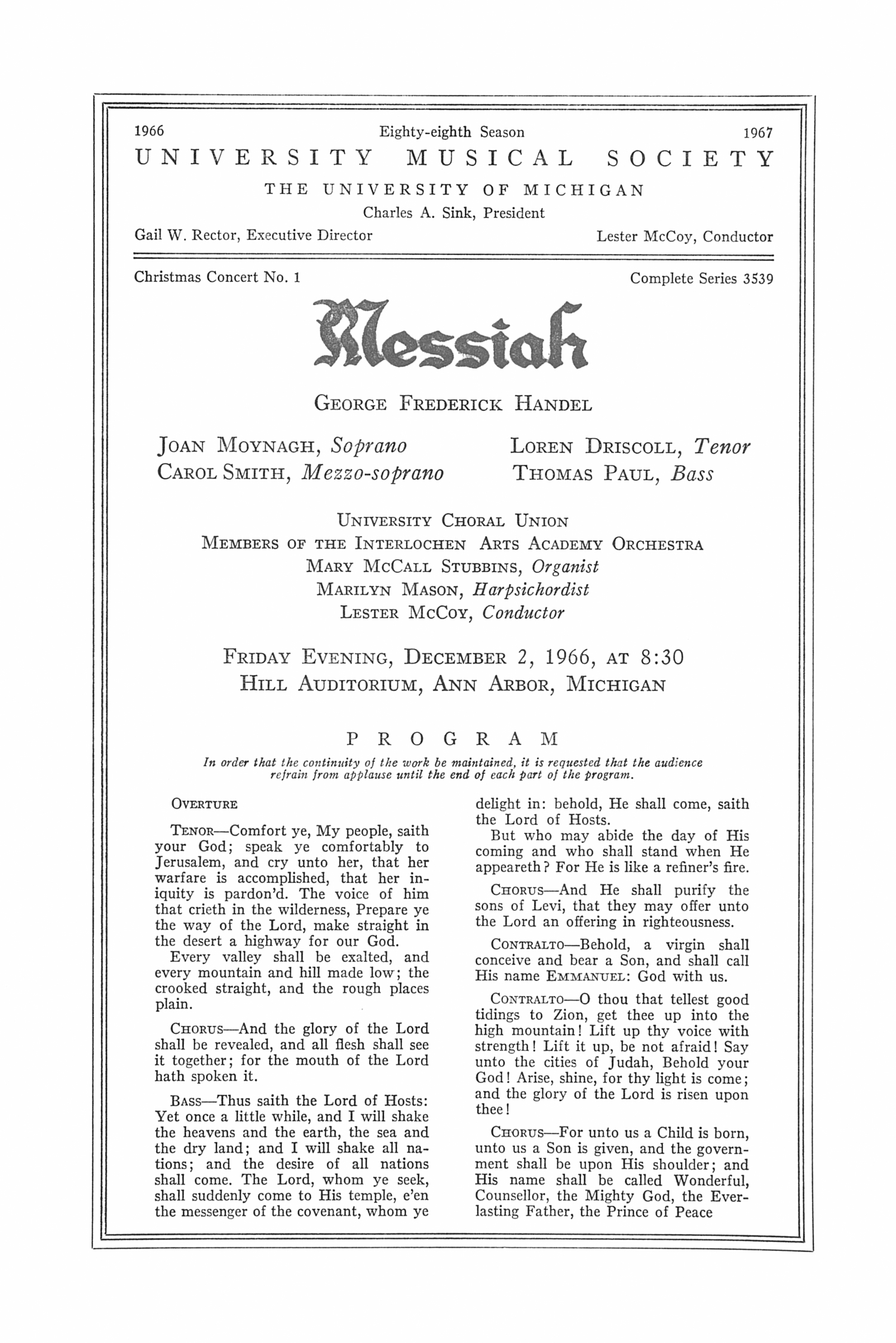 UMS Concert Program, December 2, 1966: Messiah -- George Frederick Handel image