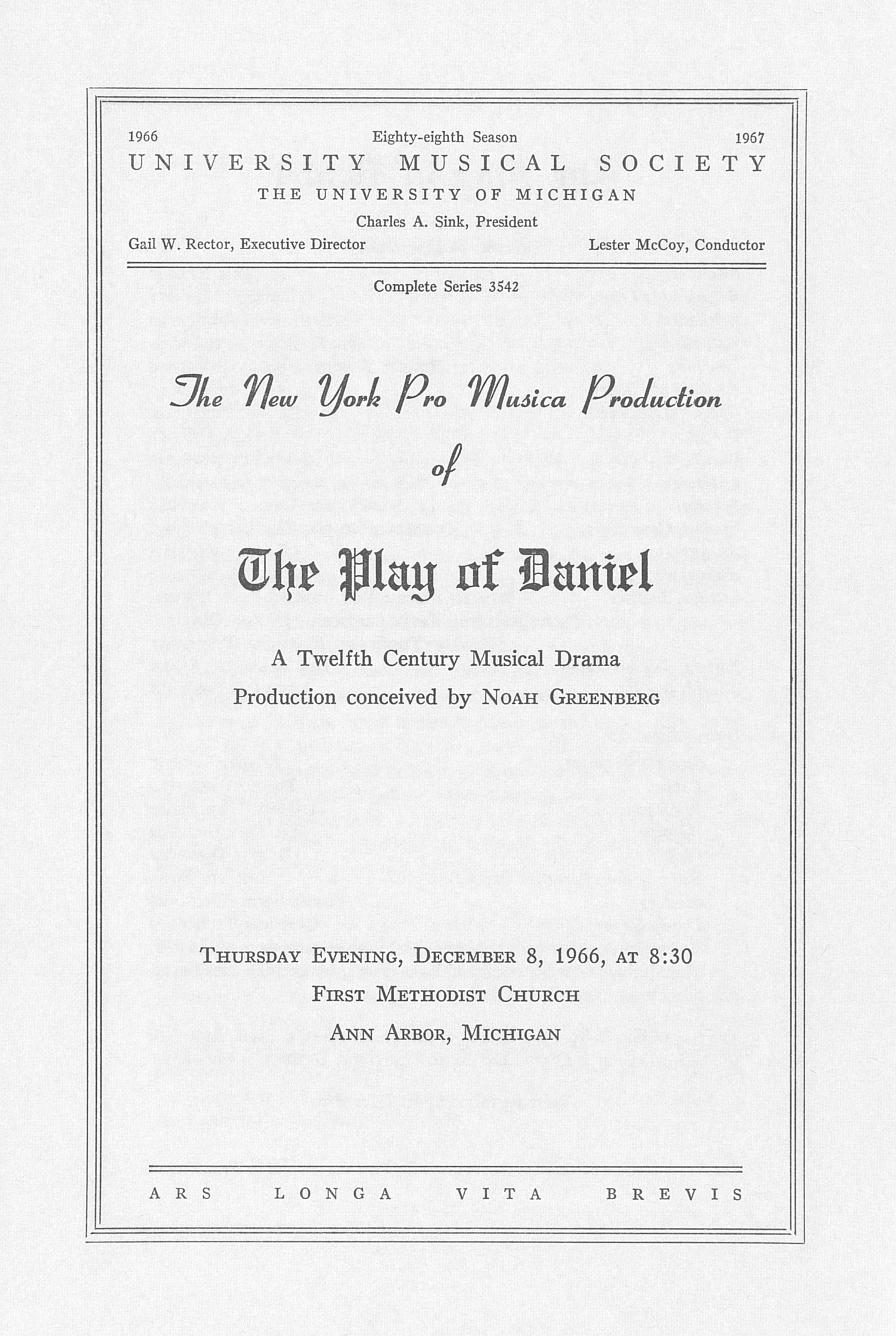 UMS Concert Program, December 8, 1966: The New York Pro Musica Production Of The Play Of Daniel -- Noah Greenberg image