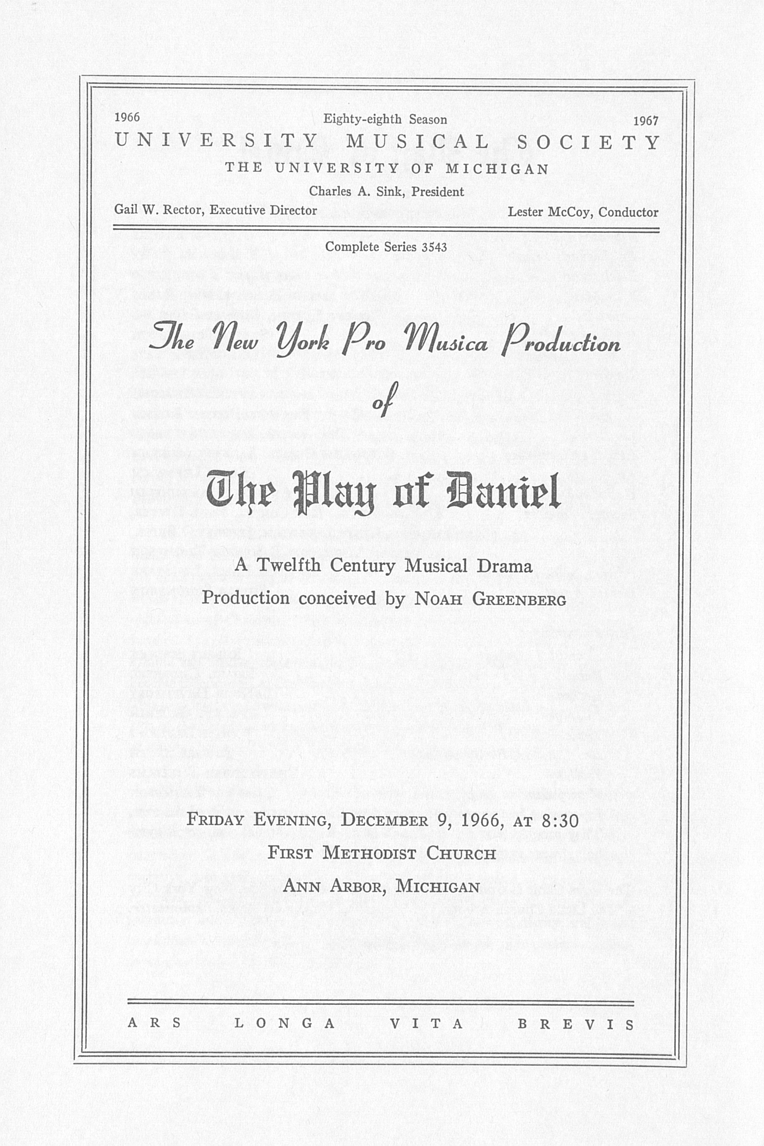 UMS Concert Program, December 9, 1966: The Paly Of Daniel -- Noah Greenberg image