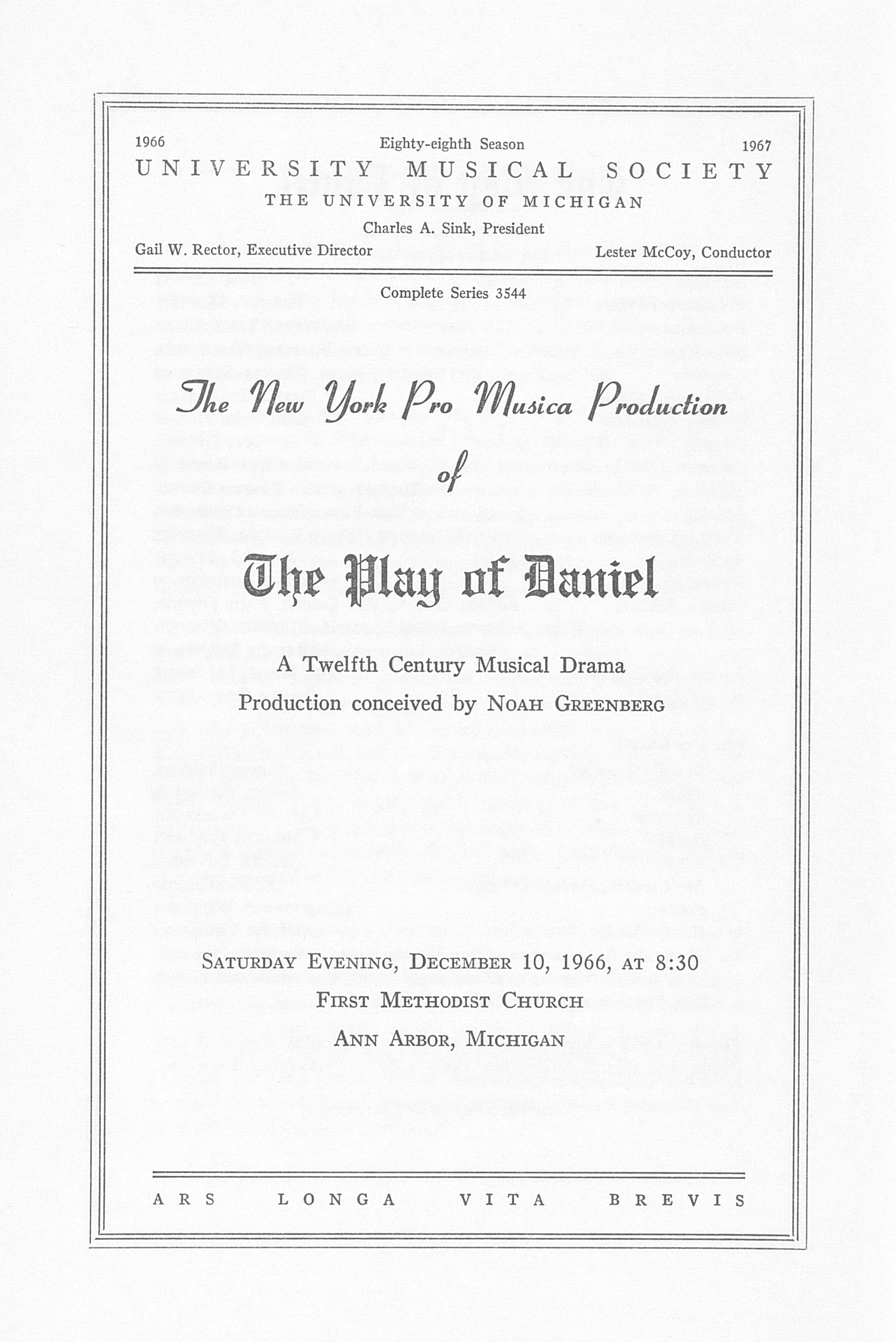 UMS Concert Program, December 10, 1966: The Play Of Daniel -- Noah Greenberg image