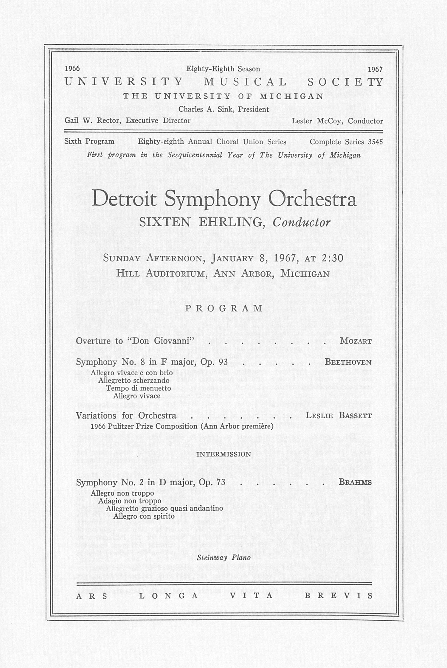 UMS Concert Program, January 8, 1967: Detroit Symphony Orchestra --  image