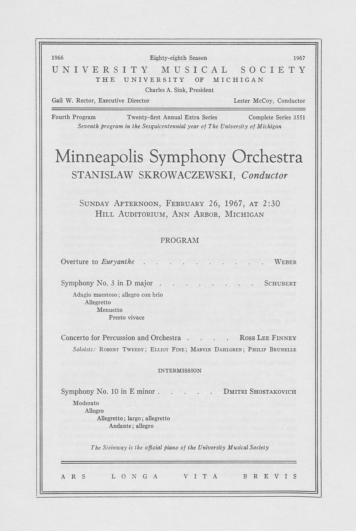 UMS Concert Program, February 26,1967: Minneapolis Symphony Orchestra --  image