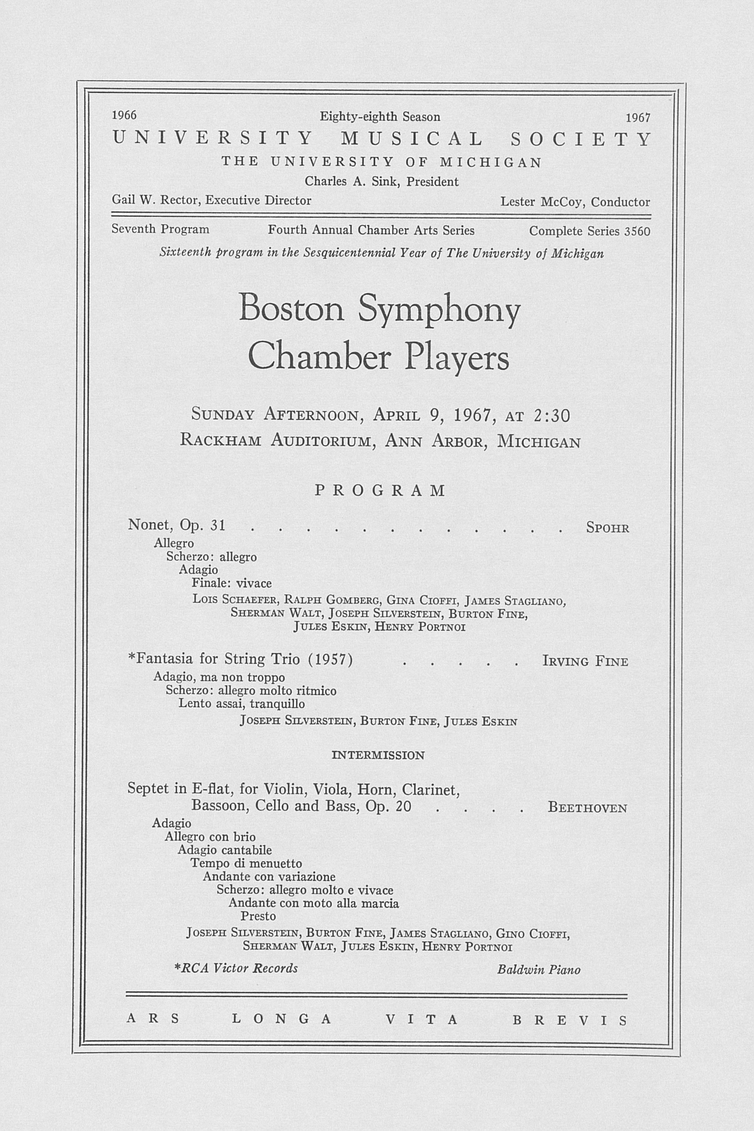 UMS Concert Program, April 9, 1967: Boston Symphony Chamber Players --  image