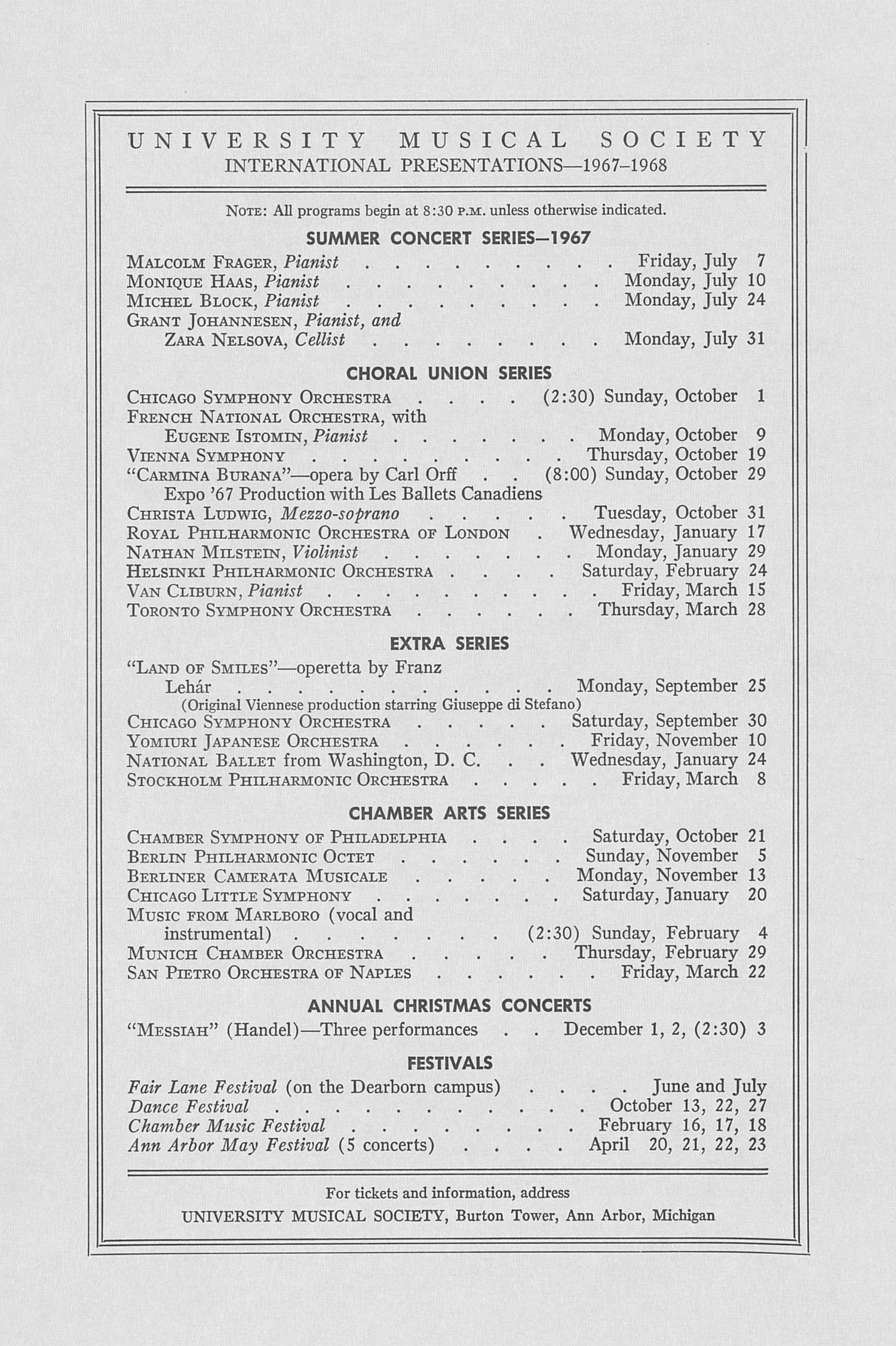 UMS Concert Program, April 22, 1967: Seventy-fourth Annual May Festival -- The Philadelphia Orchestra image