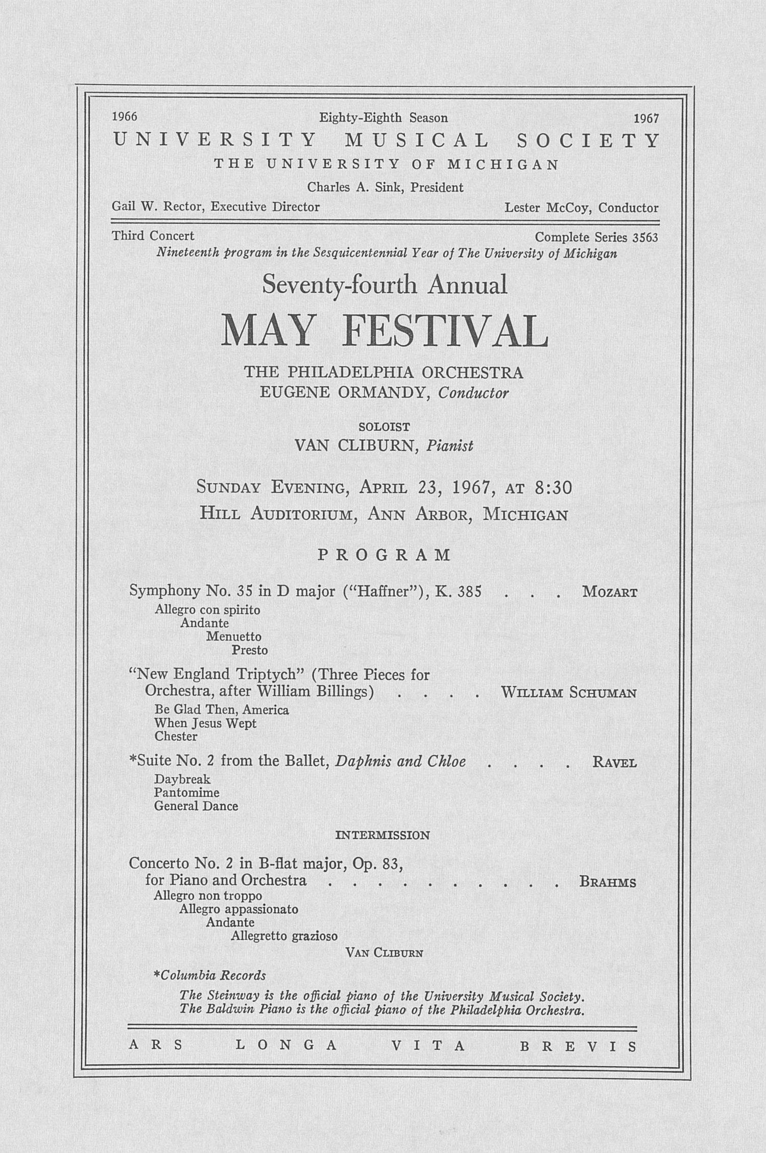 UMS Concert Program, April 23, 1967: Seventy-fourth Annual May Festival -- The Philadelphia Orchestra image