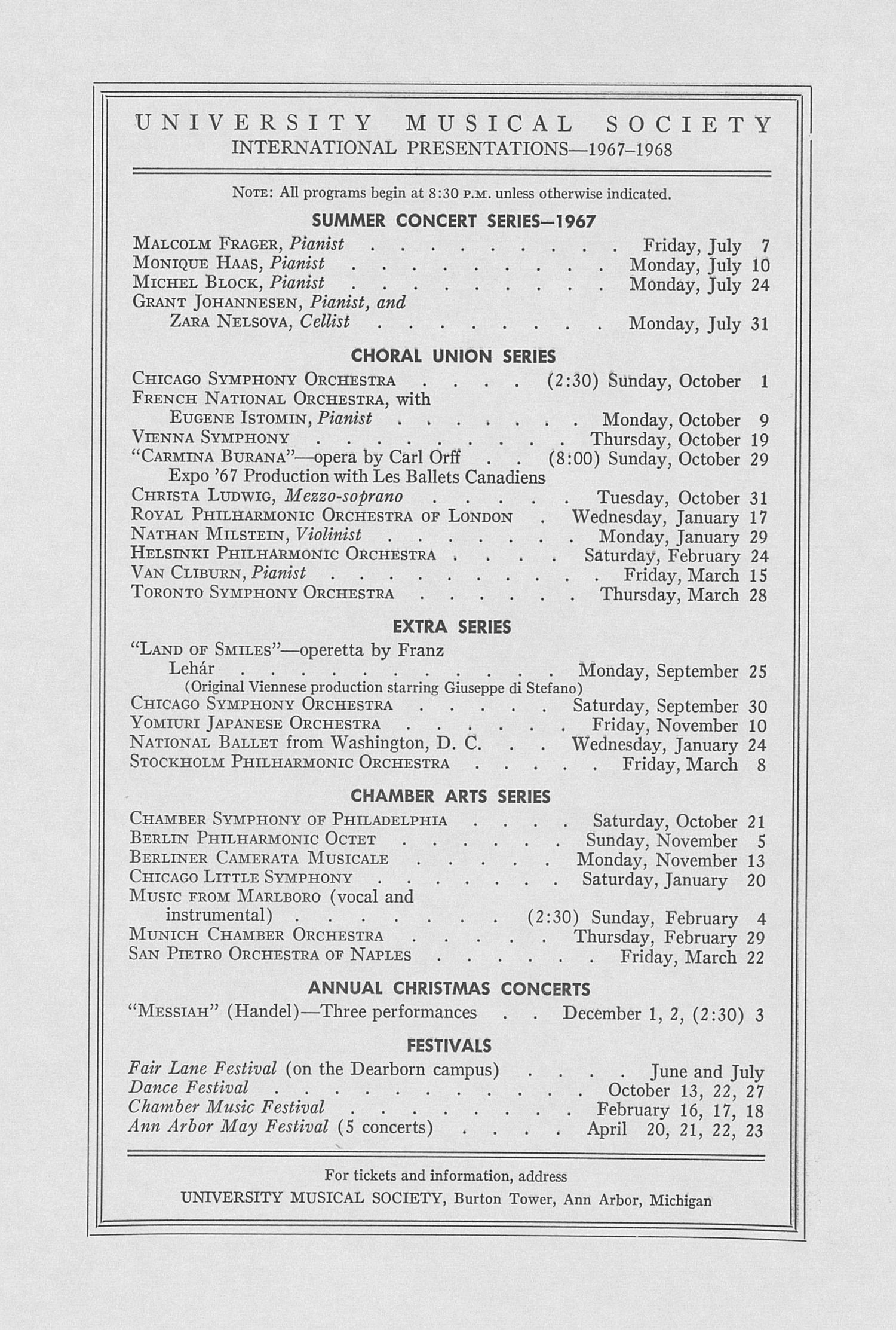 UMS Concert Program, April 25, 1967: Seventy-fourth Annual May Festival -- The Philadelphia Orchestra image