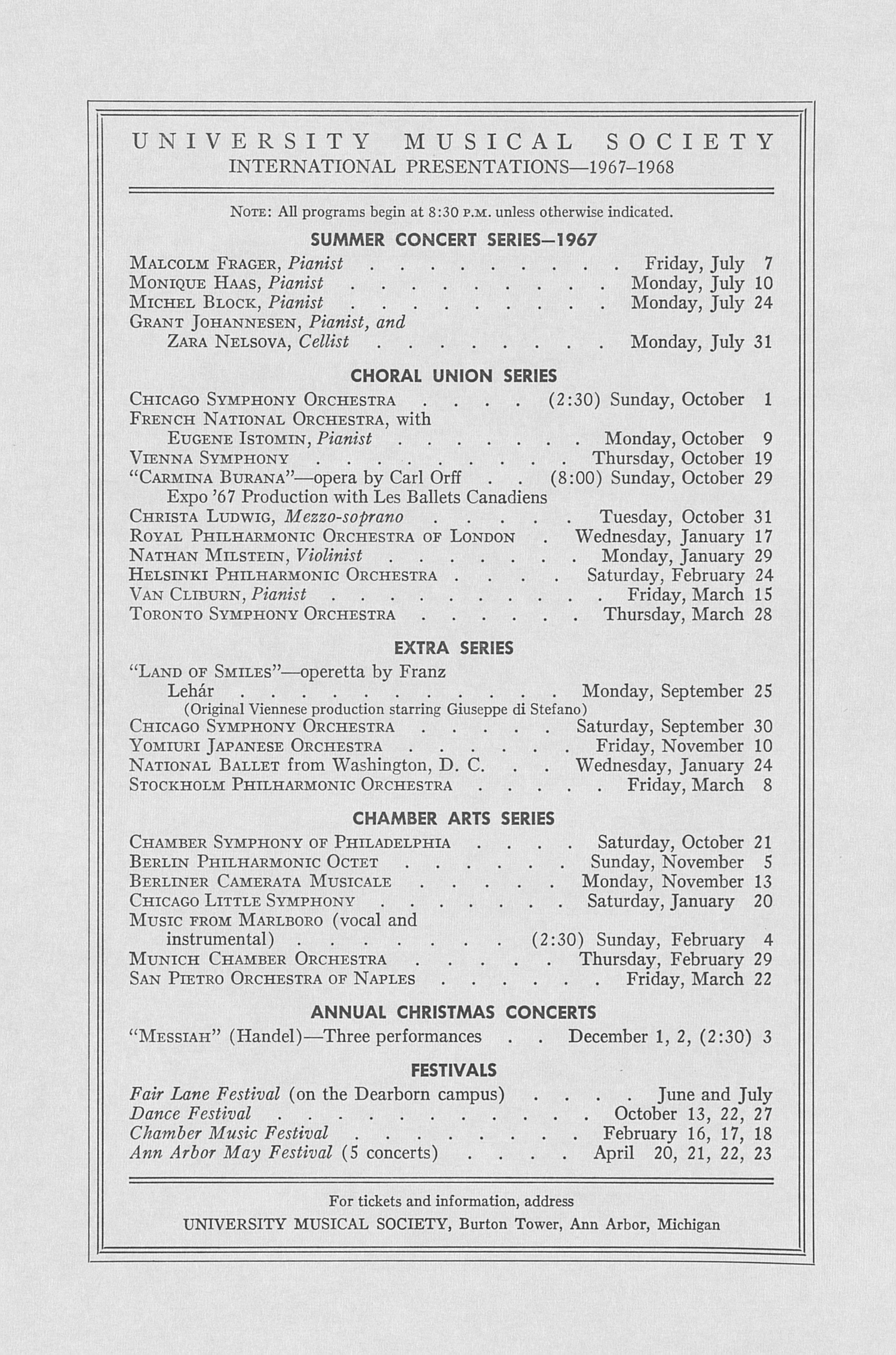 UMS Concert Program, April 24, 1967: Seventy-fourth Annual May Festival -- The Philadelphia Orchestra image