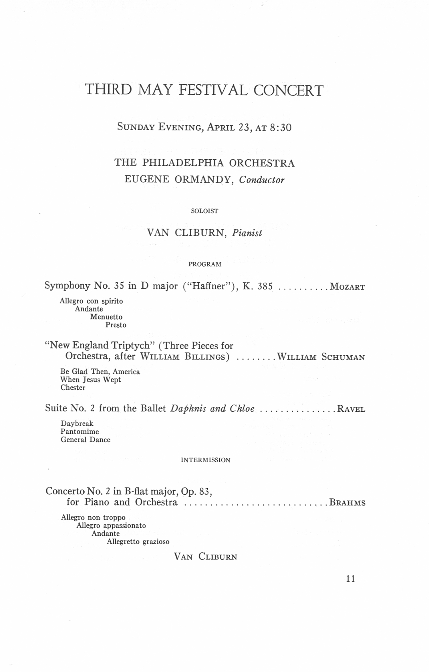 UMS Concert Program, April 22, 23, 24, 25, 1967: The Seventy-fourth Annual Ann Arbor May Festival -- The Philadelphia Orchestra image