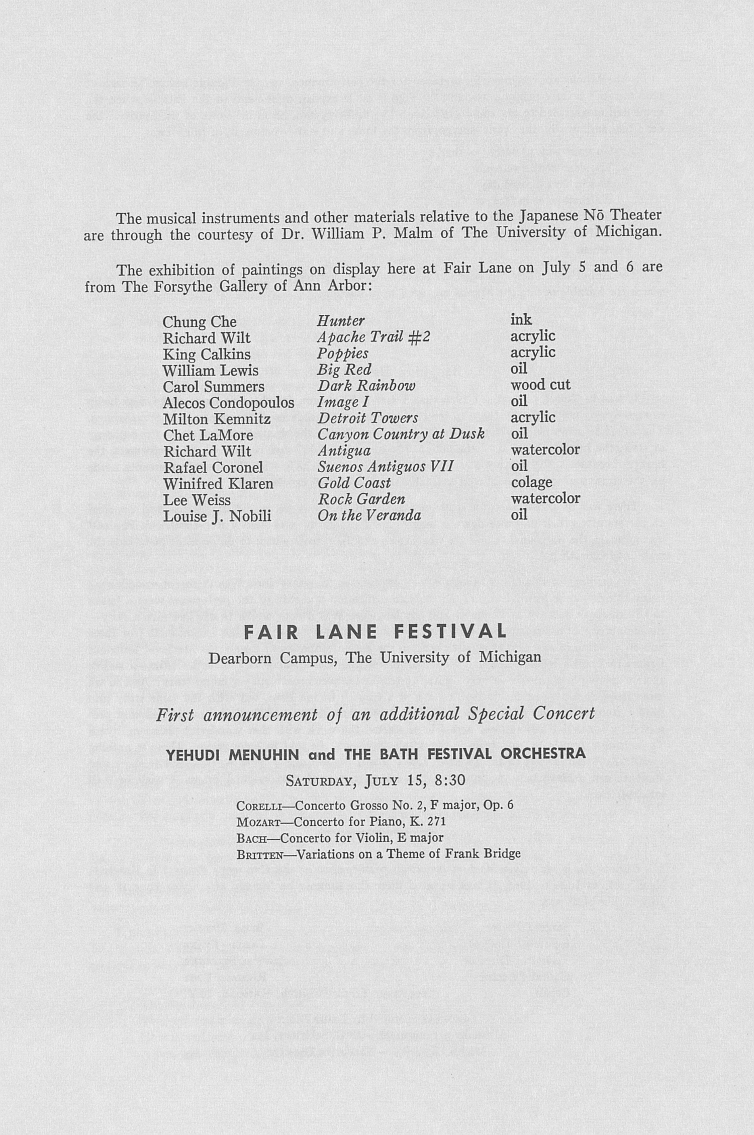 UMS Concert Program, July 5, 1967: Fair Lane Festival -- Benjamin Britten image