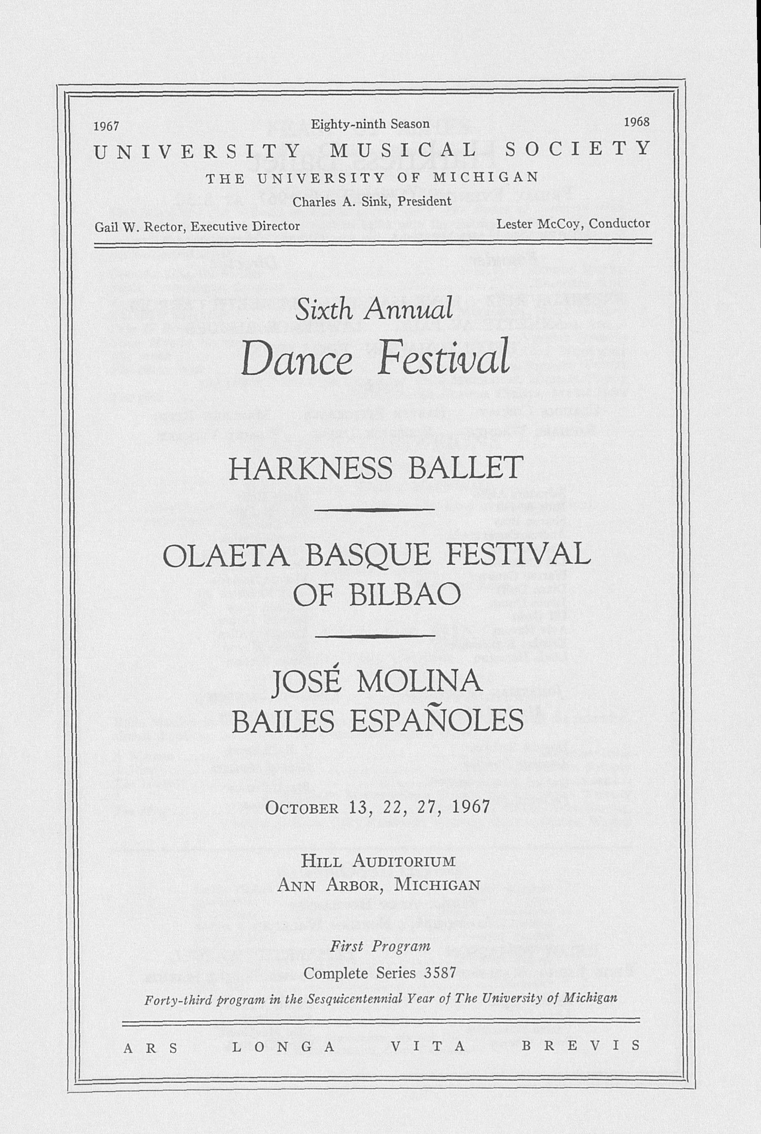 UMS Concert Program, October 13, 22, 27, 1967: Sixth Annual Dance Festival --  image