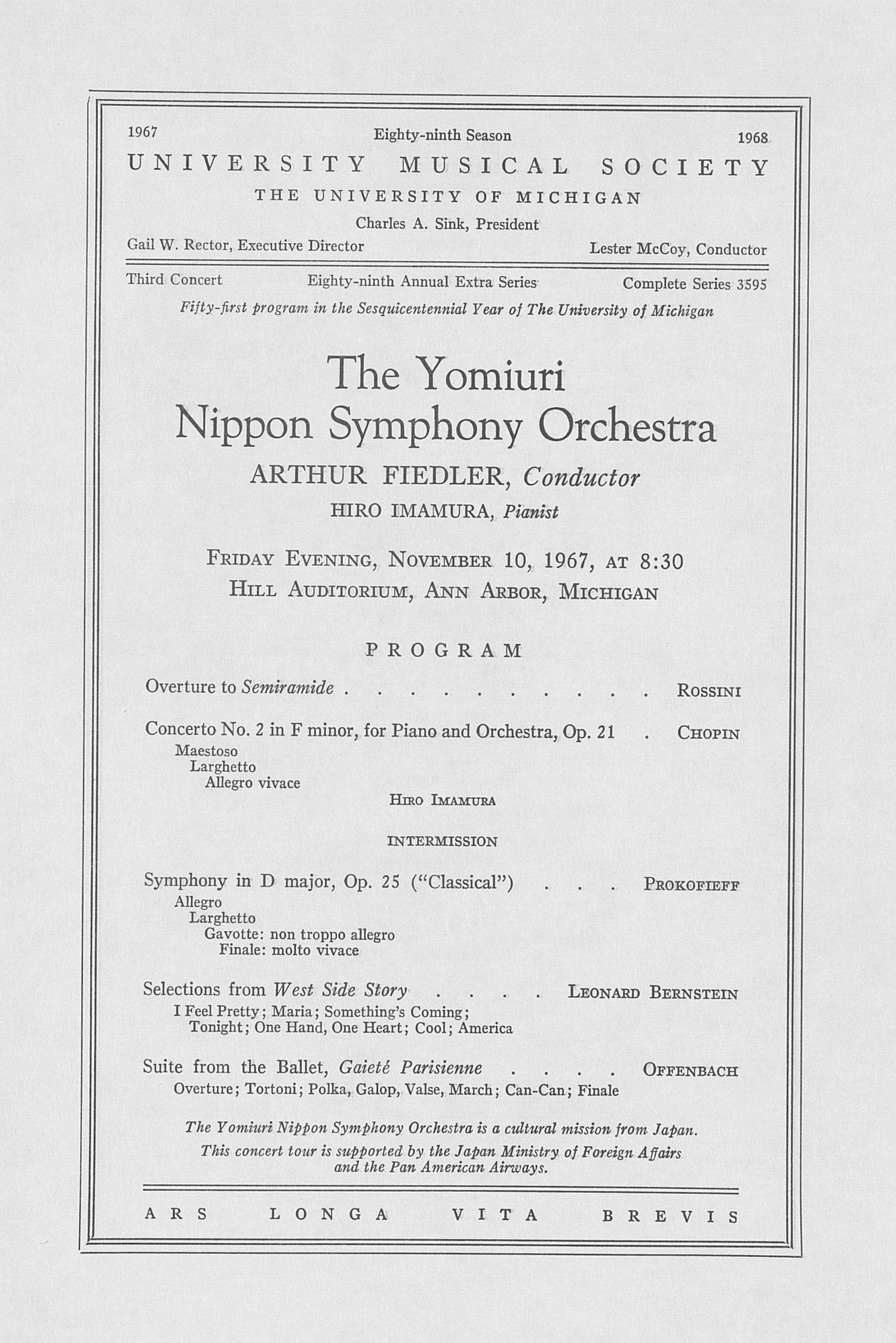 UMS Concert Program, November 10, 1967: The Yomiuri Nippon Symphony Orchestra --  image
